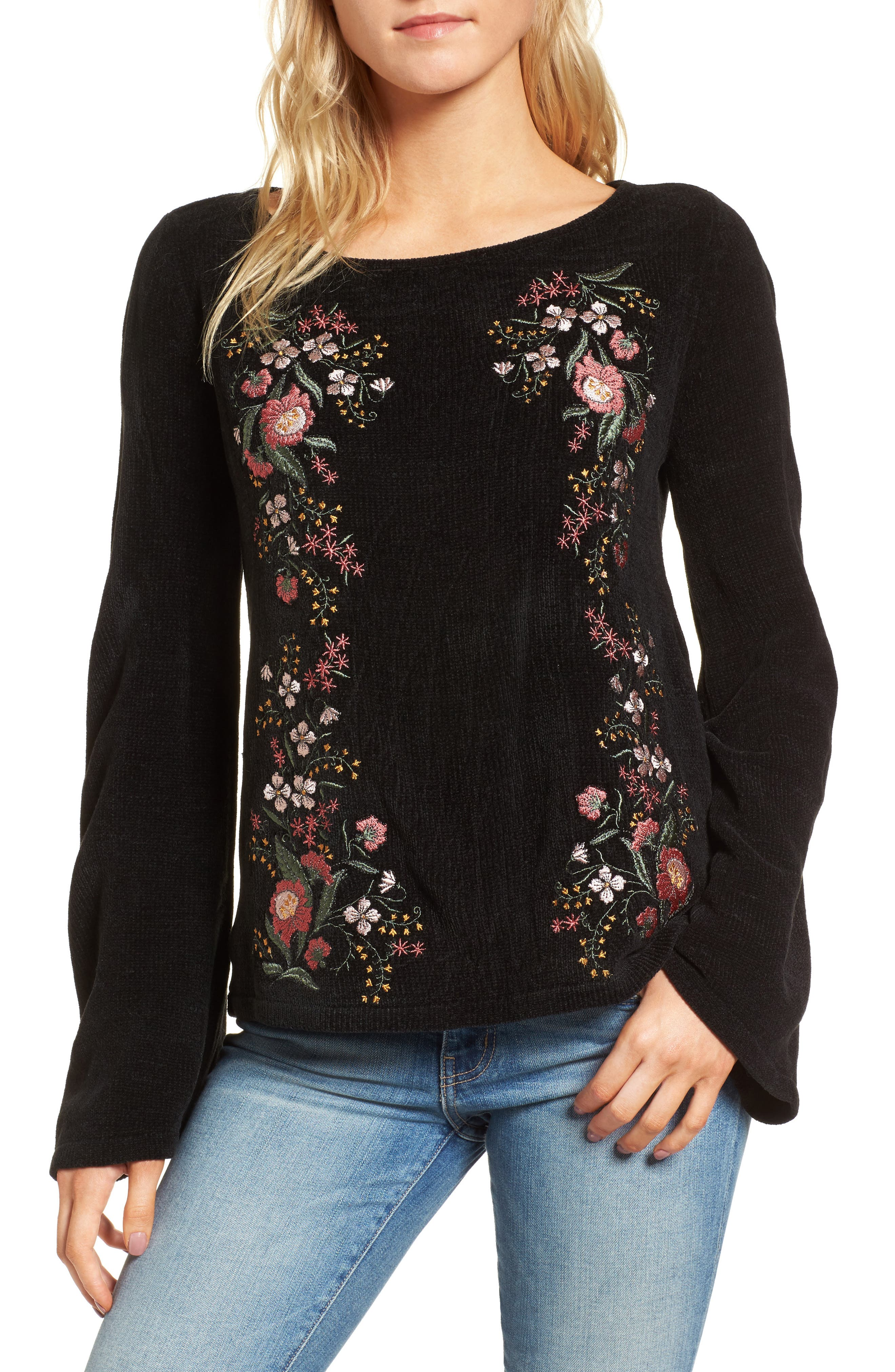Ruthie Embroidered Sweater,                             Main thumbnail 1, color,                             Black