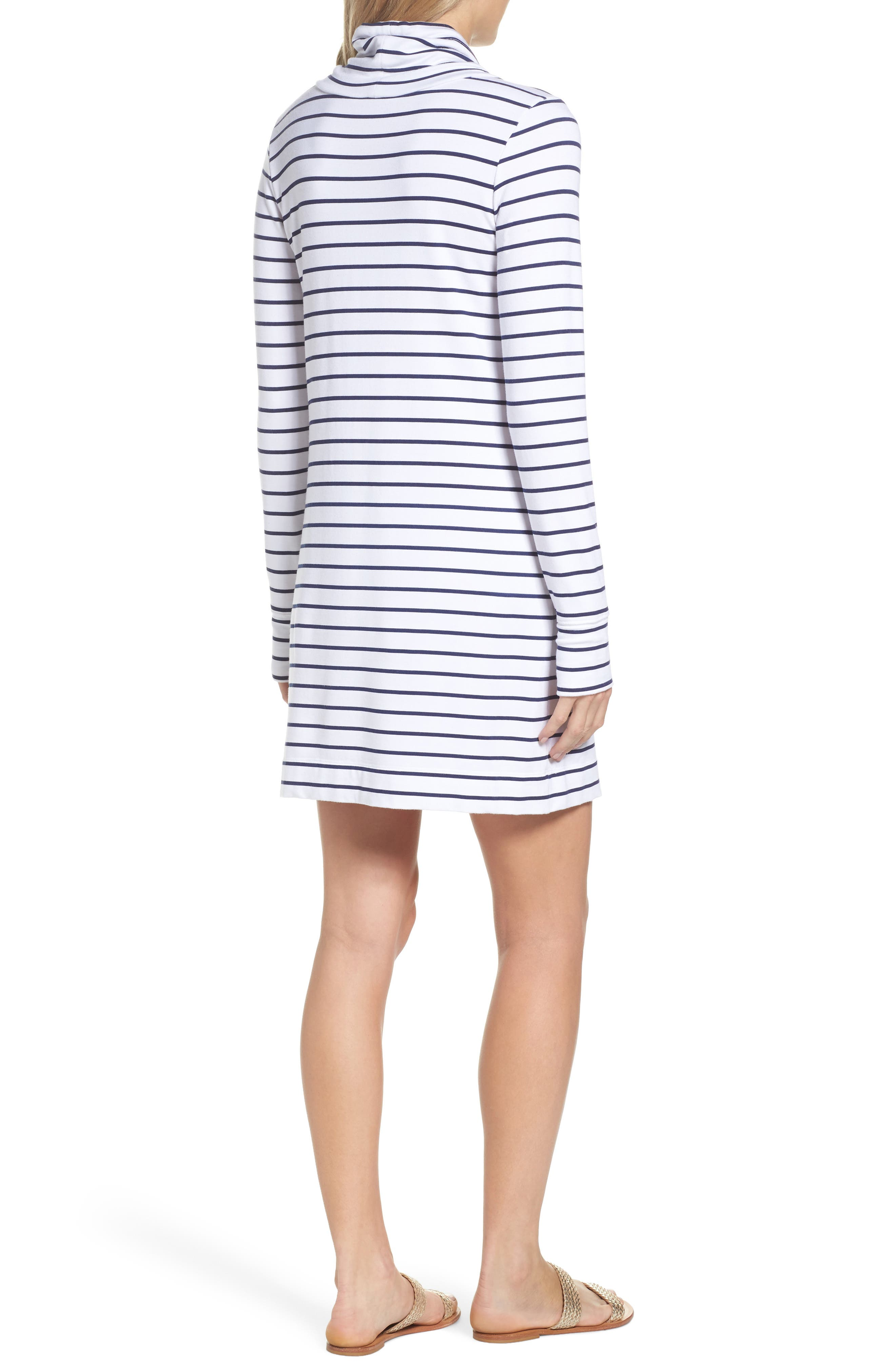 Hilary UPF 50+ Dress,                             Alternate thumbnail 2, color,                             Bright Navy Mystic Stripe
