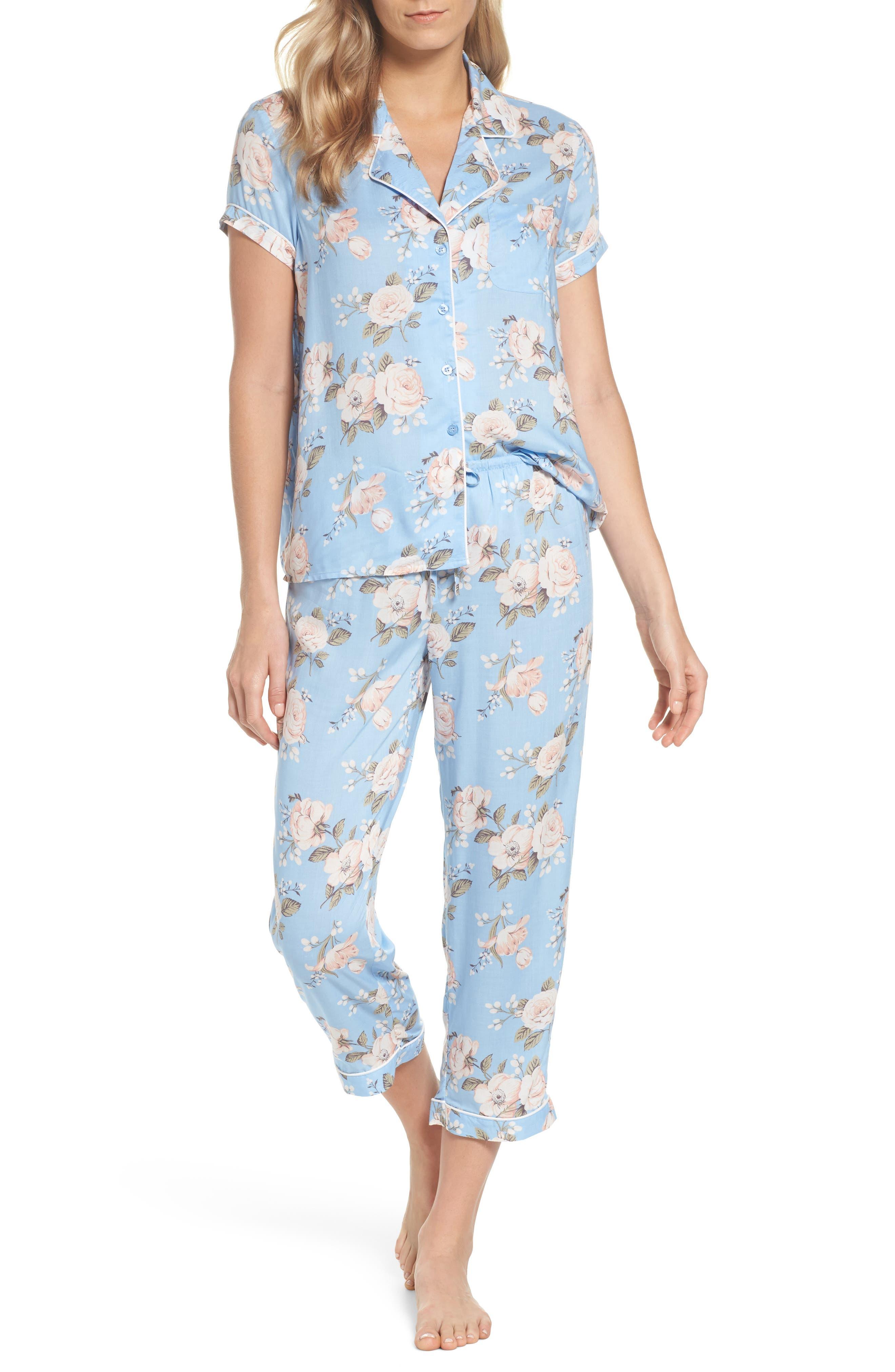 'Sweet Dreams' Print Pajamas,                         Main,                         color, Blue Placid Spring Floral
