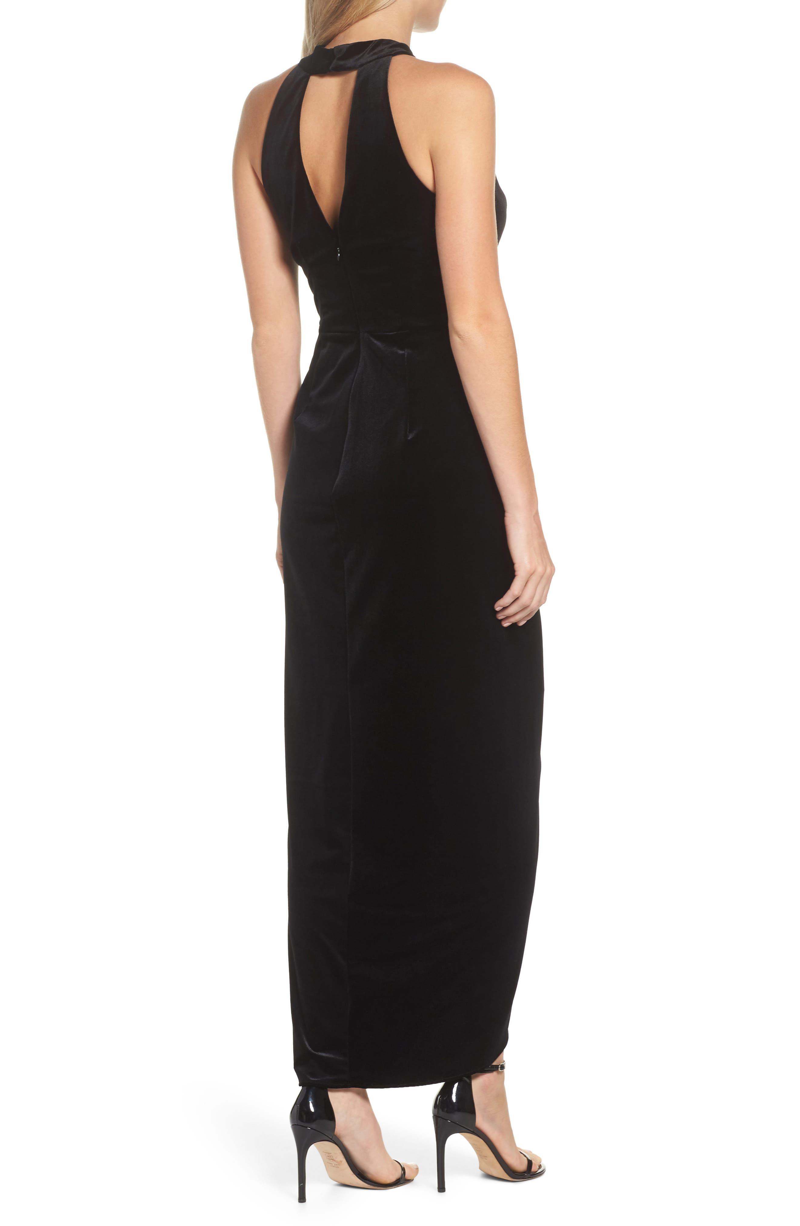 Velvet Choker Neck Wrap Dress,                             Alternate thumbnail 2, color,                             Black
