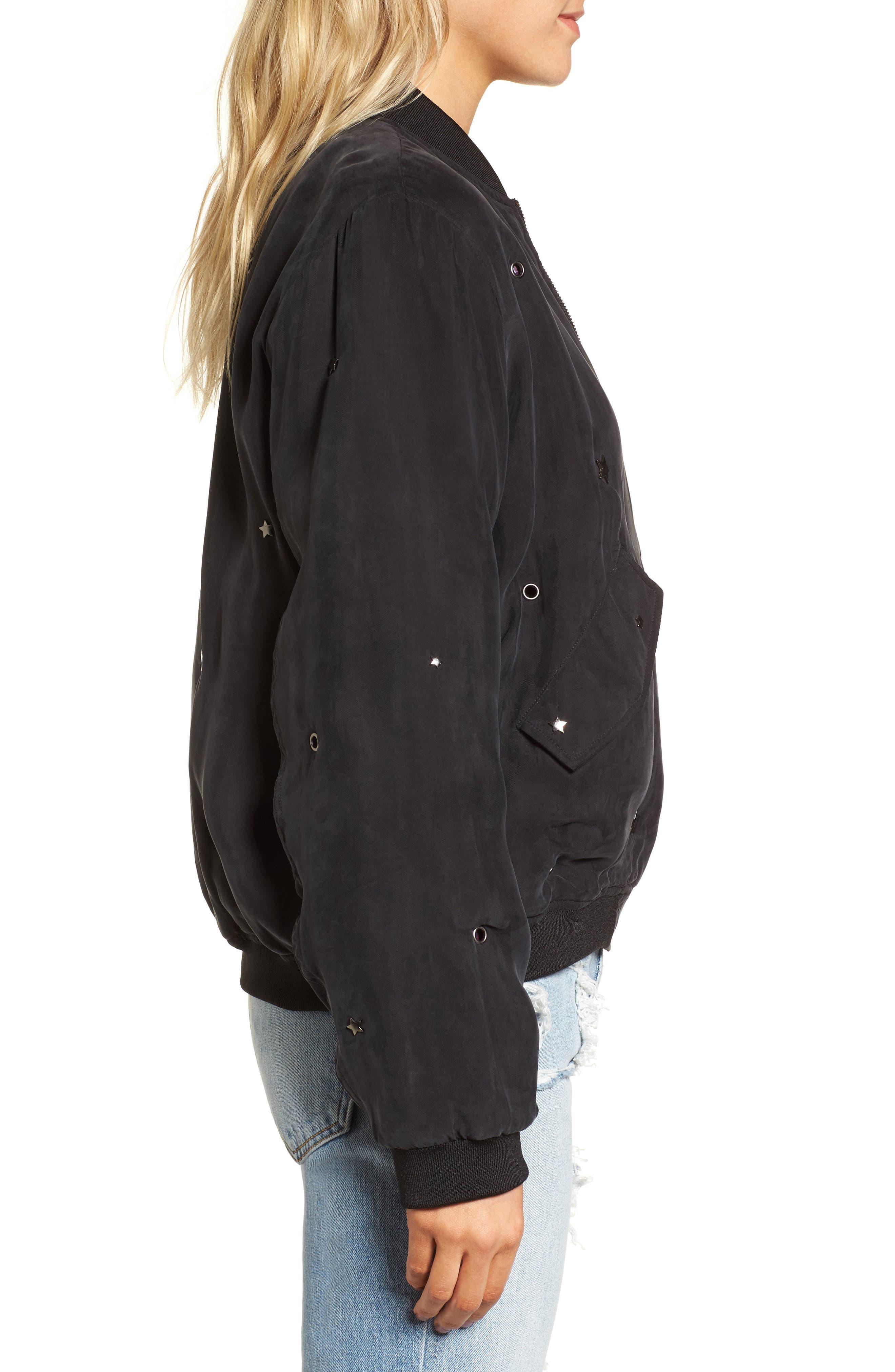 Ace Embellished Bomber Jacket,                             Alternate thumbnail 3, color,                             Black-Studded