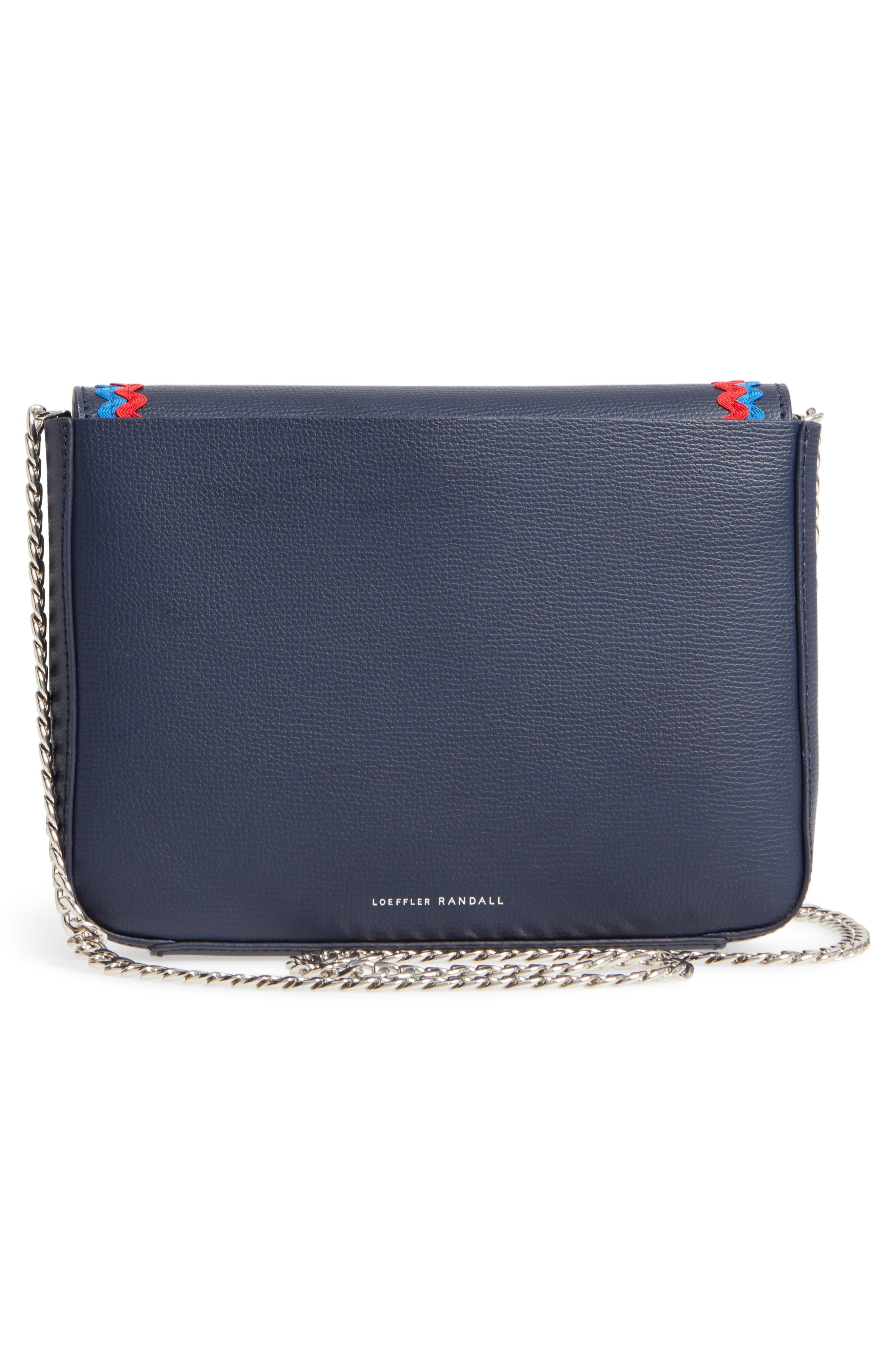 Lock Leather Flap Clutch/Shoulder Bag,                             Alternate thumbnail 3, color,                             Eclipse/ Multi