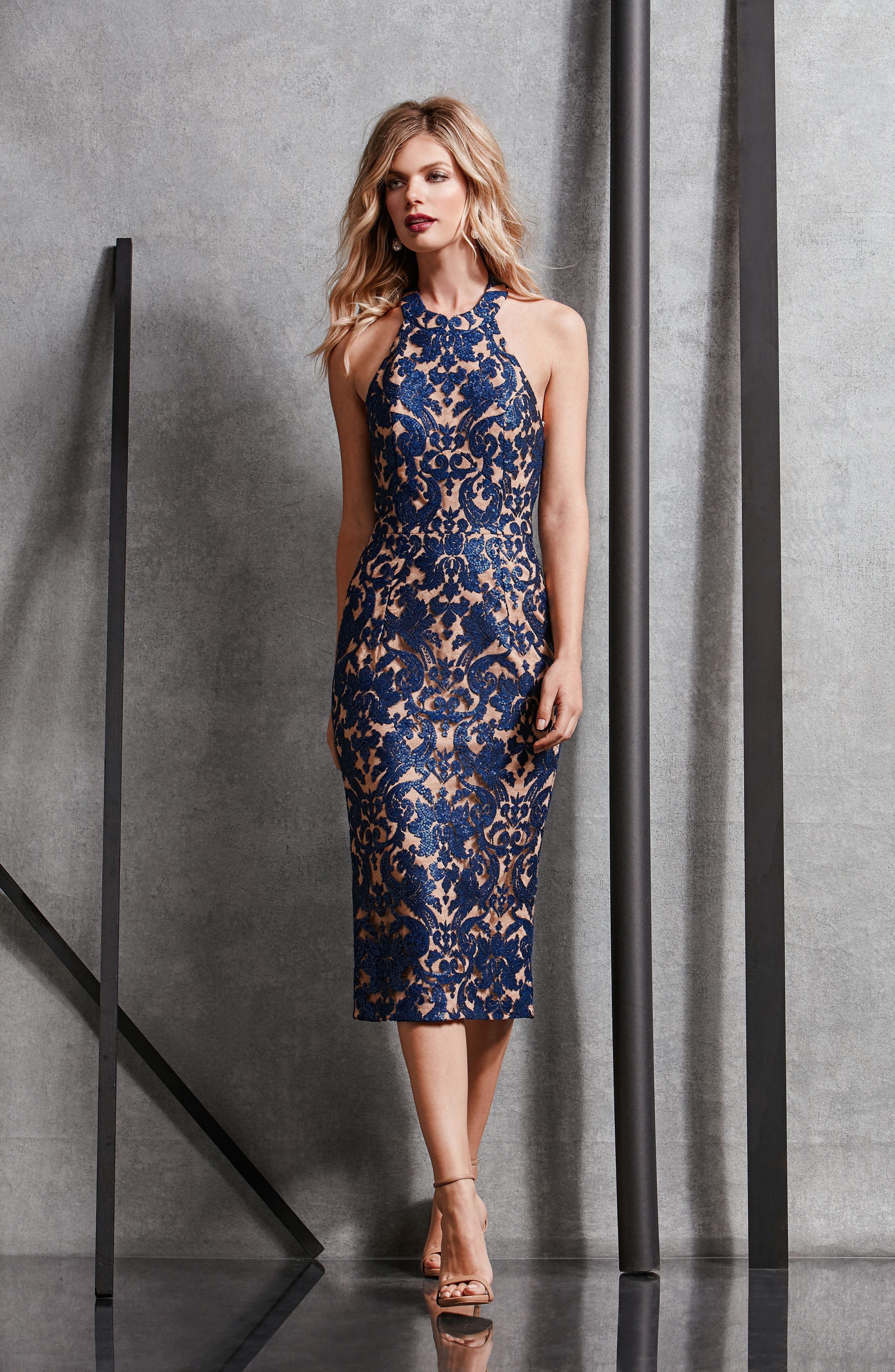 Alternate Image 5  - Dress the Population Cassie Sequin Midi Dress