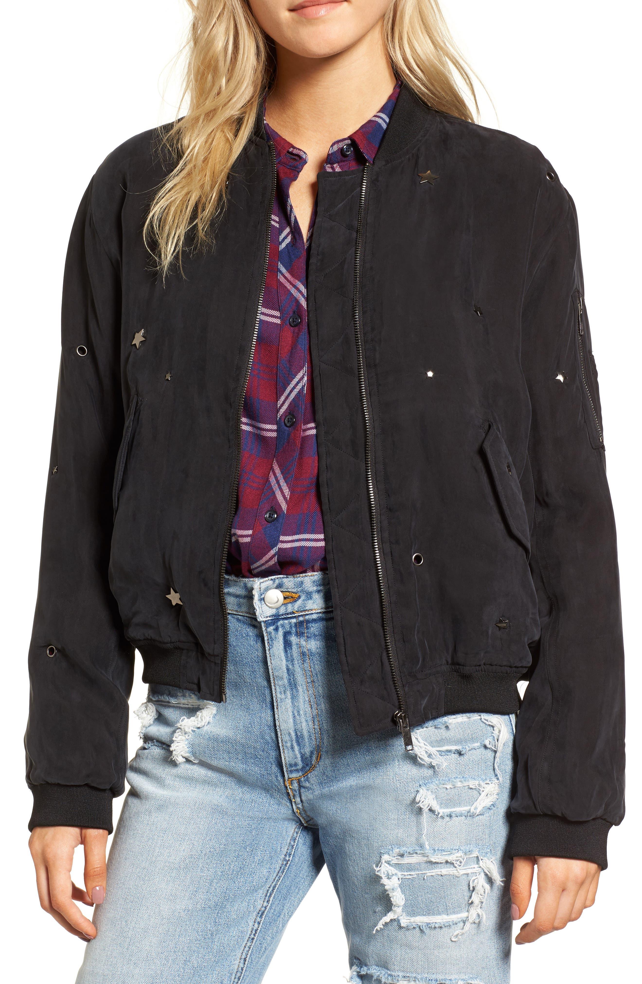 Ace Embellished Bomber Jacket,                             Main thumbnail 1, color,                             Black-Studded