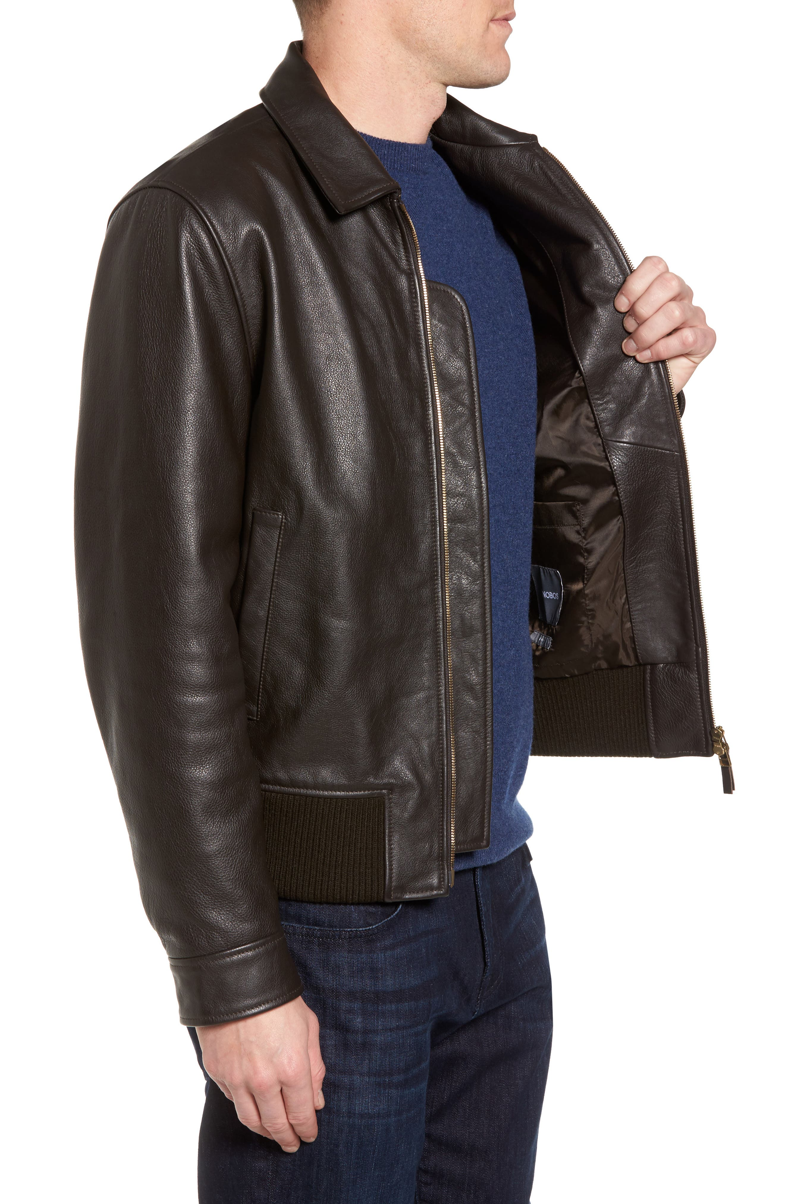 Year Round Leather Jacket,                             Alternate thumbnail 3, color,                             Espresso Brown