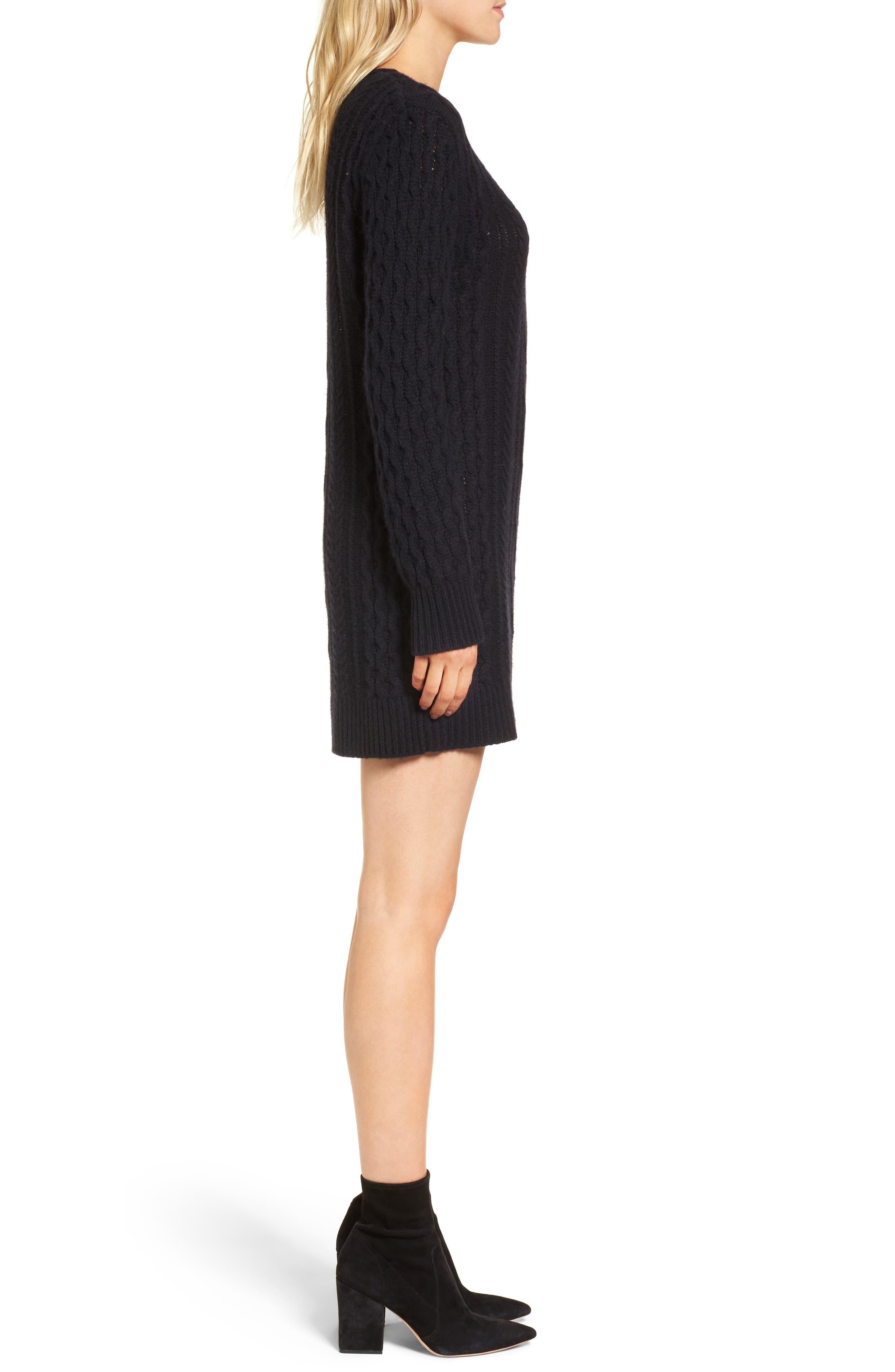 Jesse Sweater Minidress,                             Alternate thumbnail 3, color,                             Midnight