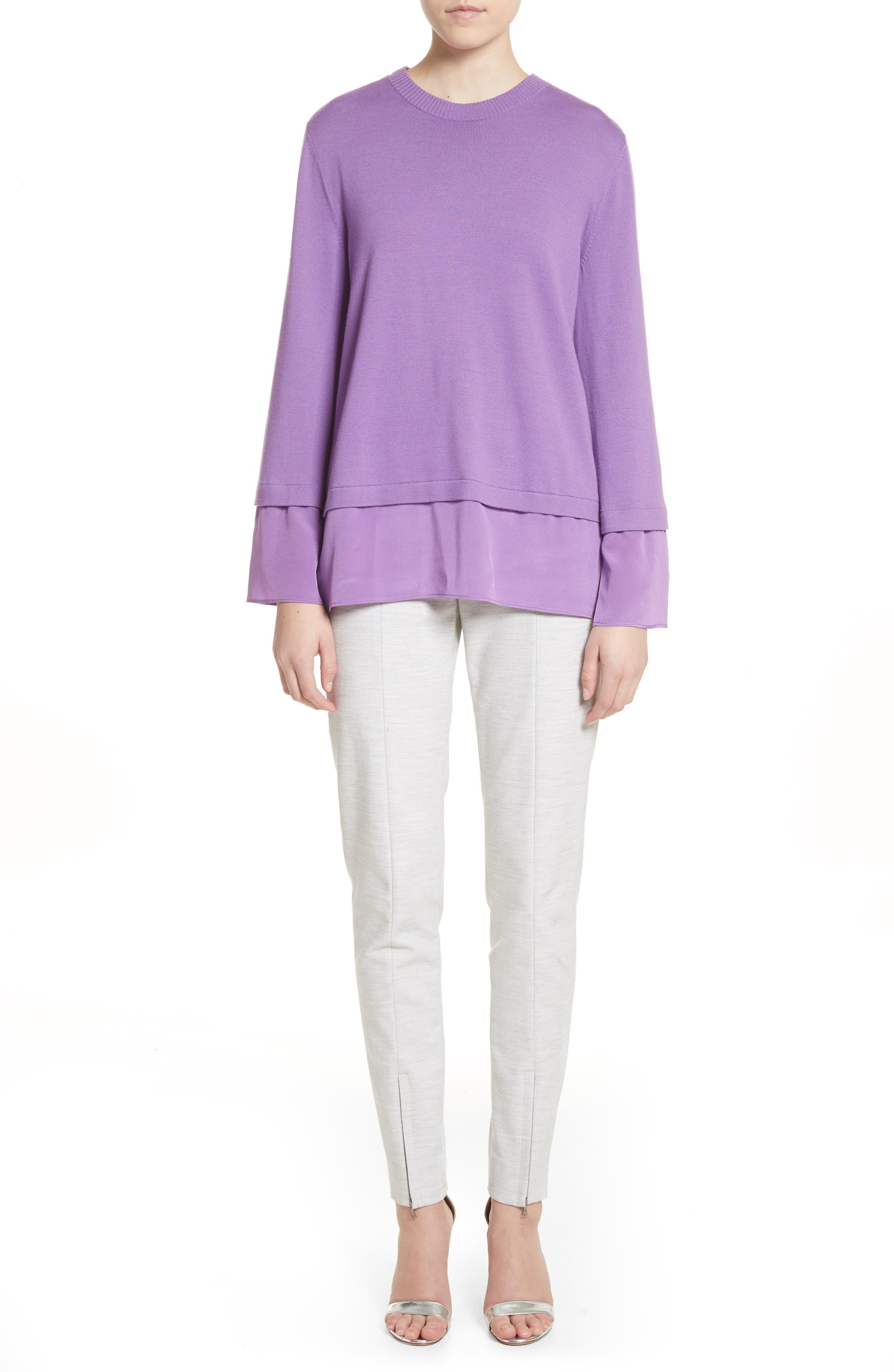 Layered Hem Wool Sweater,                             Alternate thumbnail 7, color,                             Deep Orchid