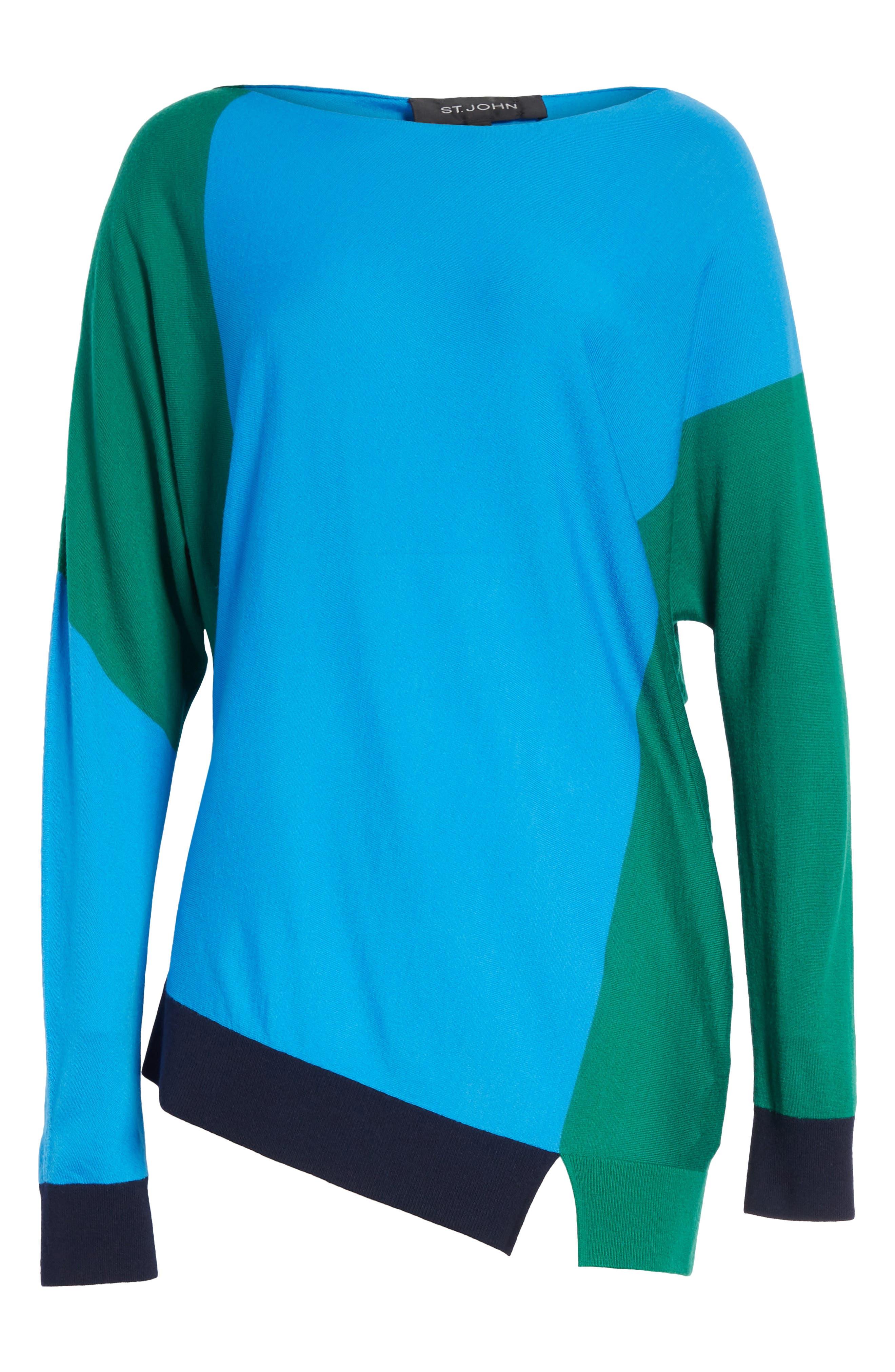 Colorblock Knit Wool Sweater,                             Alternate thumbnail 6, color,                             Cyan/ Emerald/ Navy