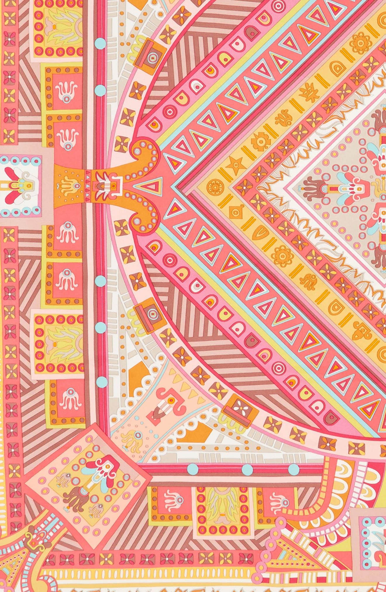 Graphic Geometric Silk Scarf,                             Alternate thumbnail 3, color,                             Fuxia