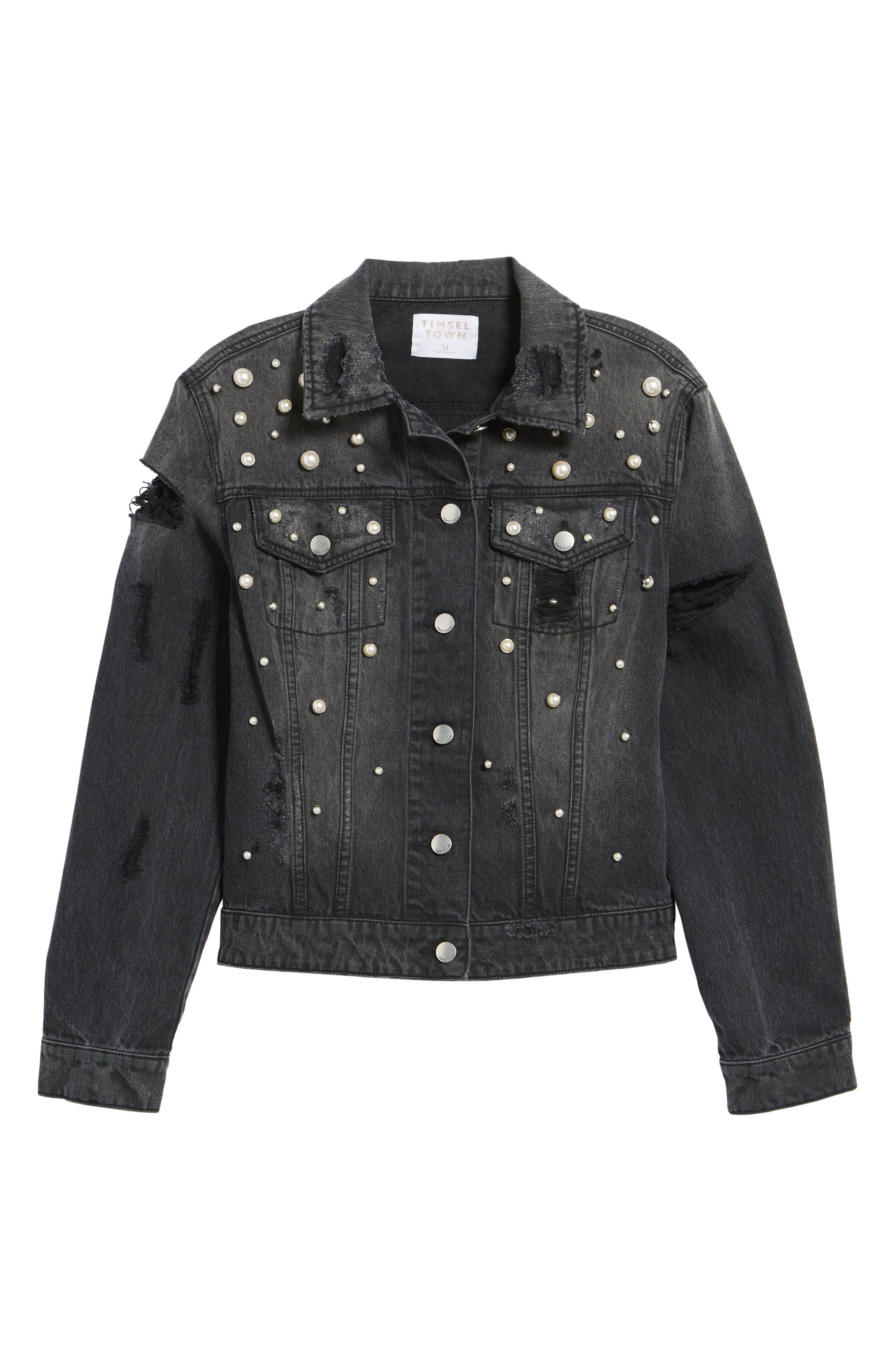 Imitation Pearl Detail Boyfriend Denim Jacket,                             Alternate thumbnail 6, color,                             Stone Wash