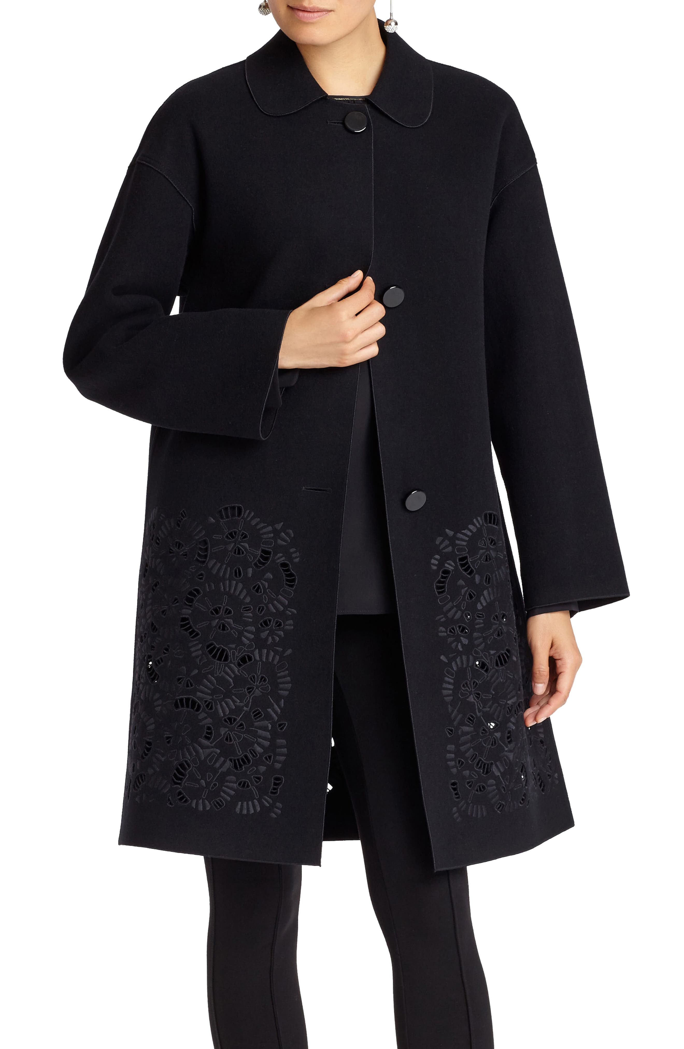 Vita Laser Cut Embroidered Coat,                             Main thumbnail 1, color,                             Black
