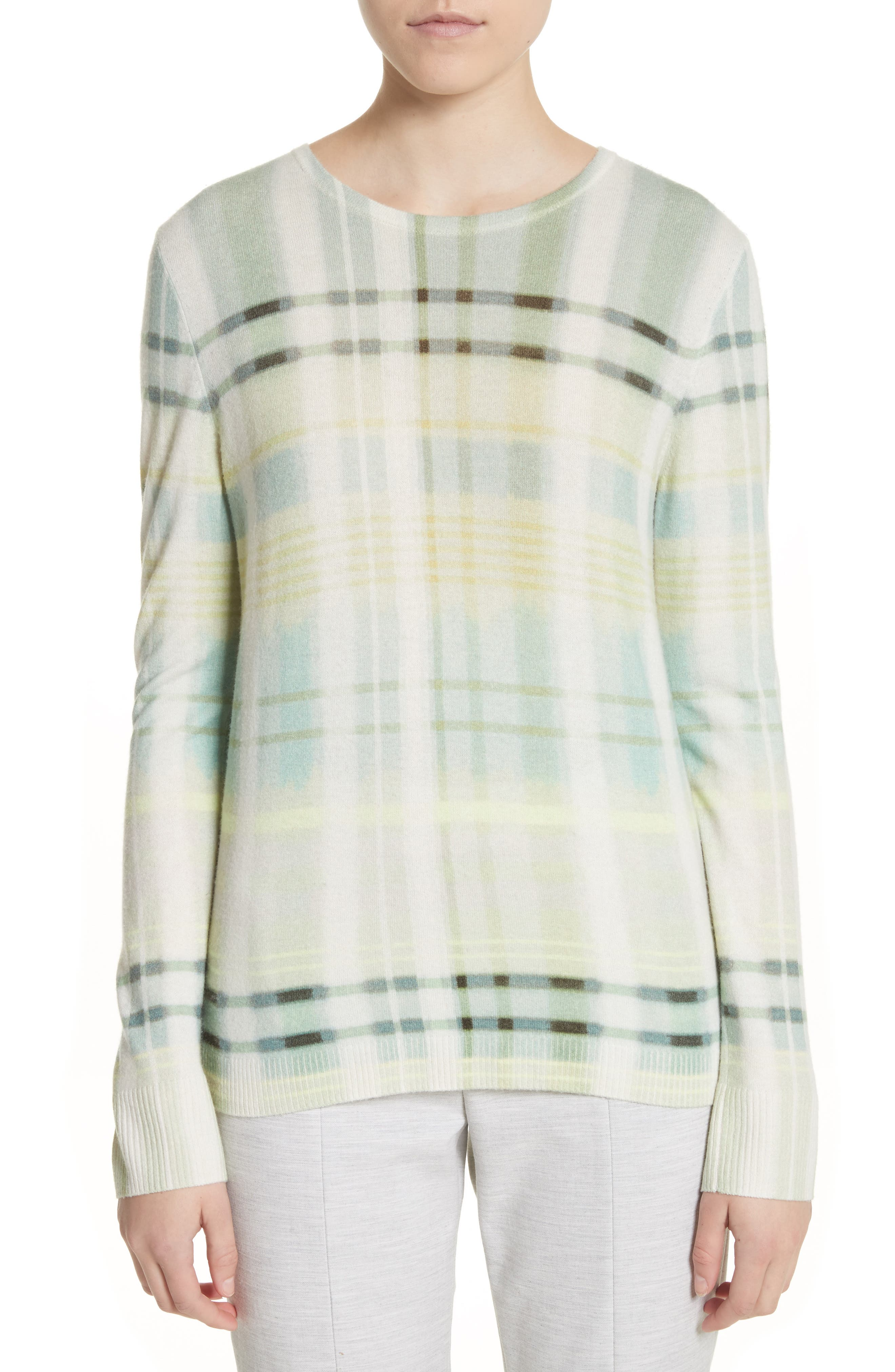 Alternate Image 1 Selected - St. John Collection Plaid Cashmere Sweater