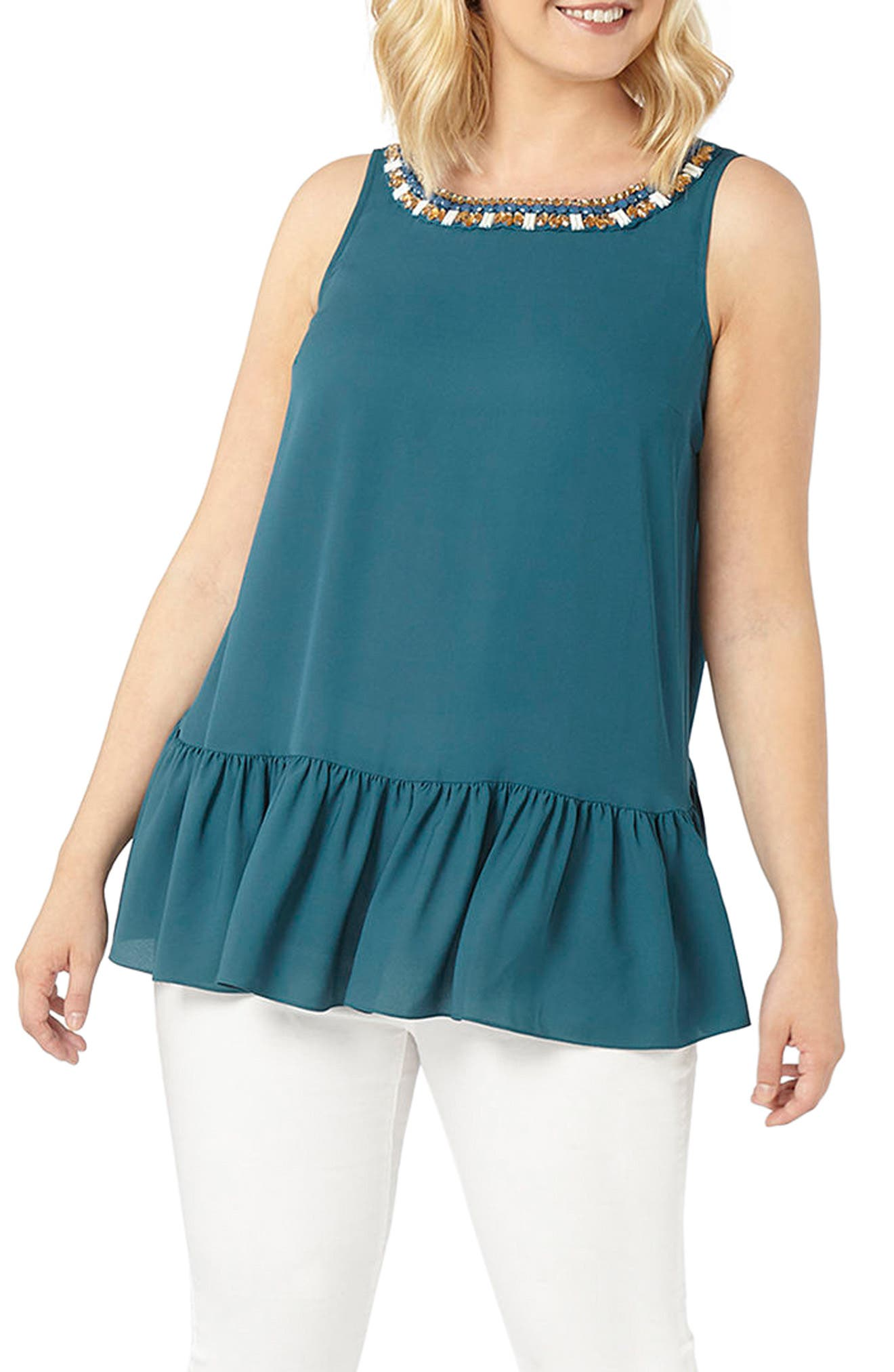 Embroidered Neck Peplum Top,                             Main thumbnail 1, color,                             Mixed Metal