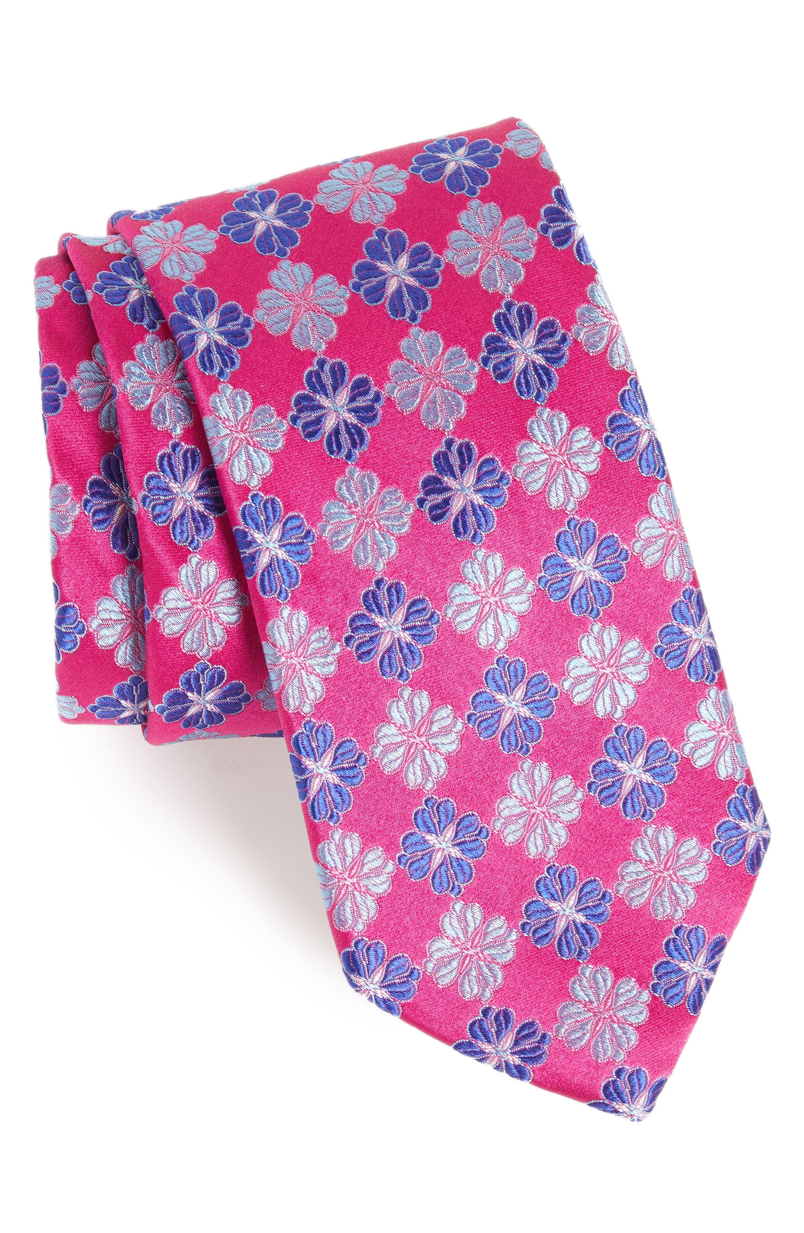 Cole Floral Silk Tie,                             Main thumbnail 1, color,                             Fuschia