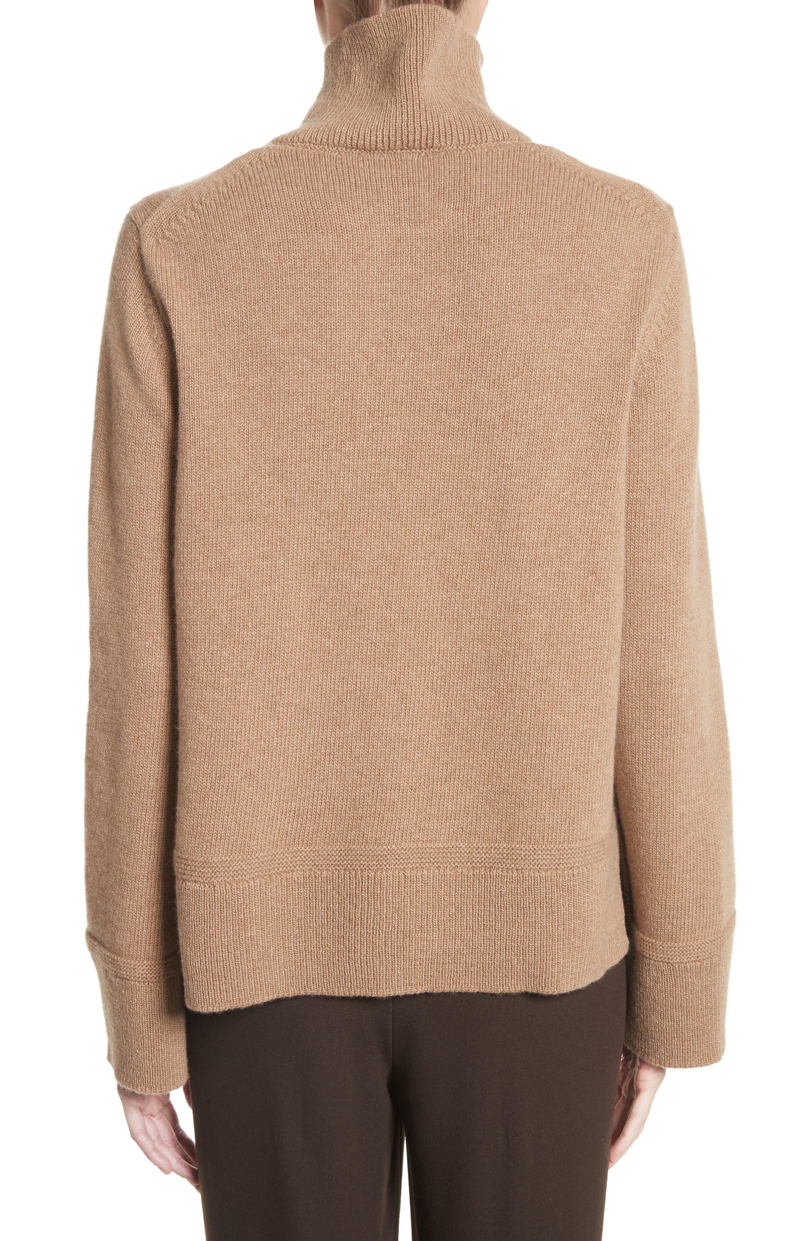 Suede Zip Detail Wool & Cashmere Crop Sweater,                             Alternate thumbnail 2, color,                             Cammello Melange
