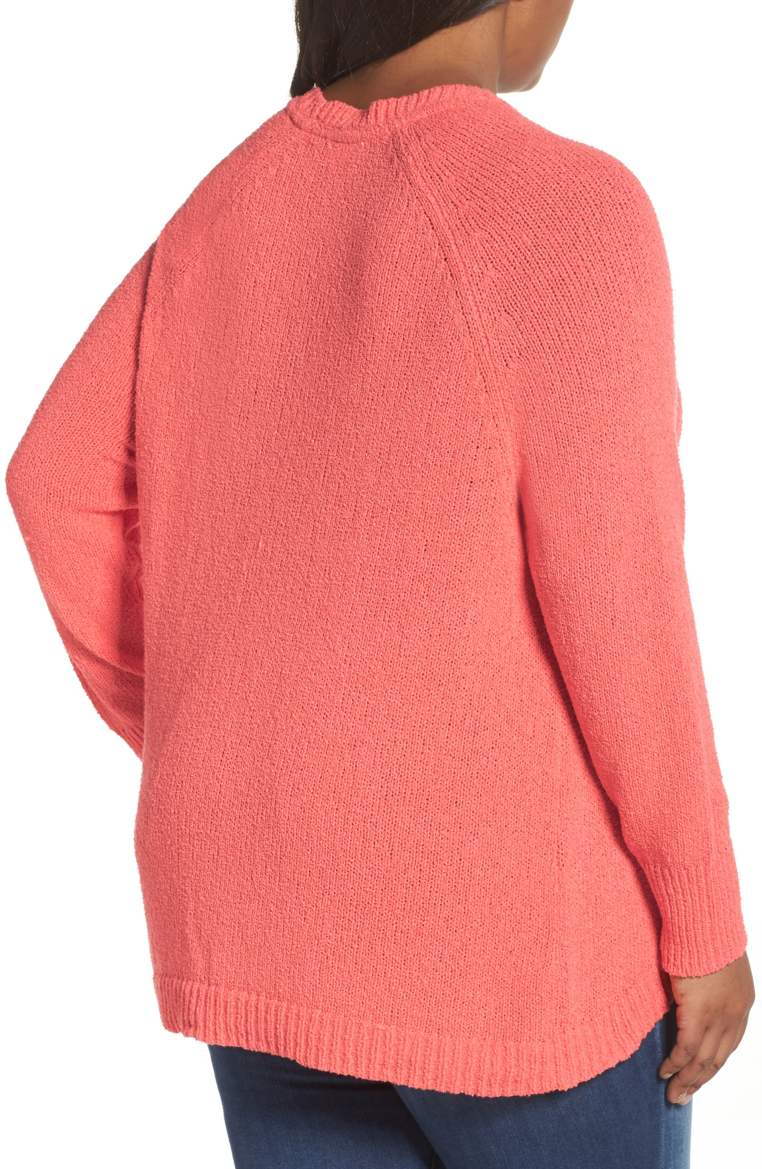 Relaxed Crewneck Sweater,                             Alternate thumbnail 3, color,                             Coral Sea
