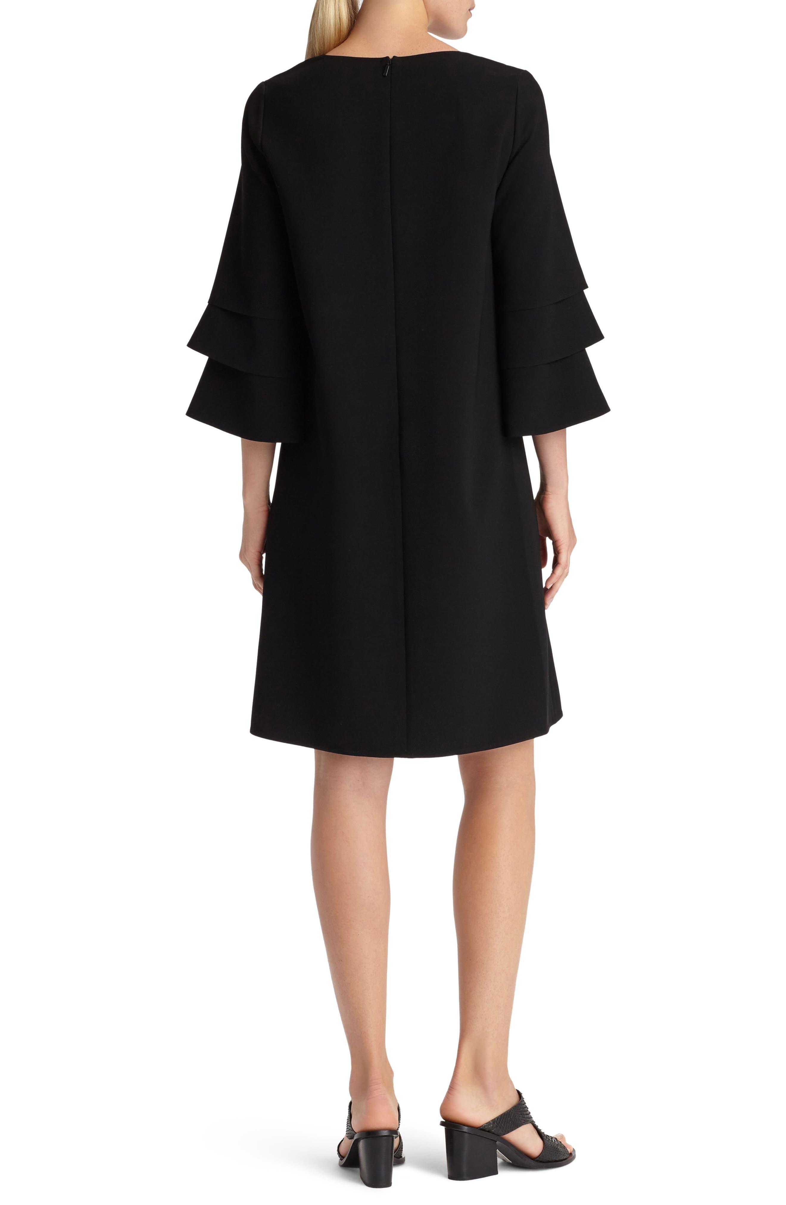 Velez Finesse Crepe Shift Dress,                             Alternate thumbnail 2, color,                             Black