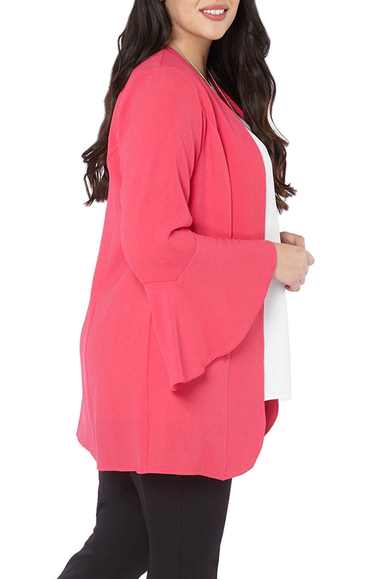 Ruffle Sleeve Jacket,                             Alternate thumbnail 3, color,                             Hot Pink
