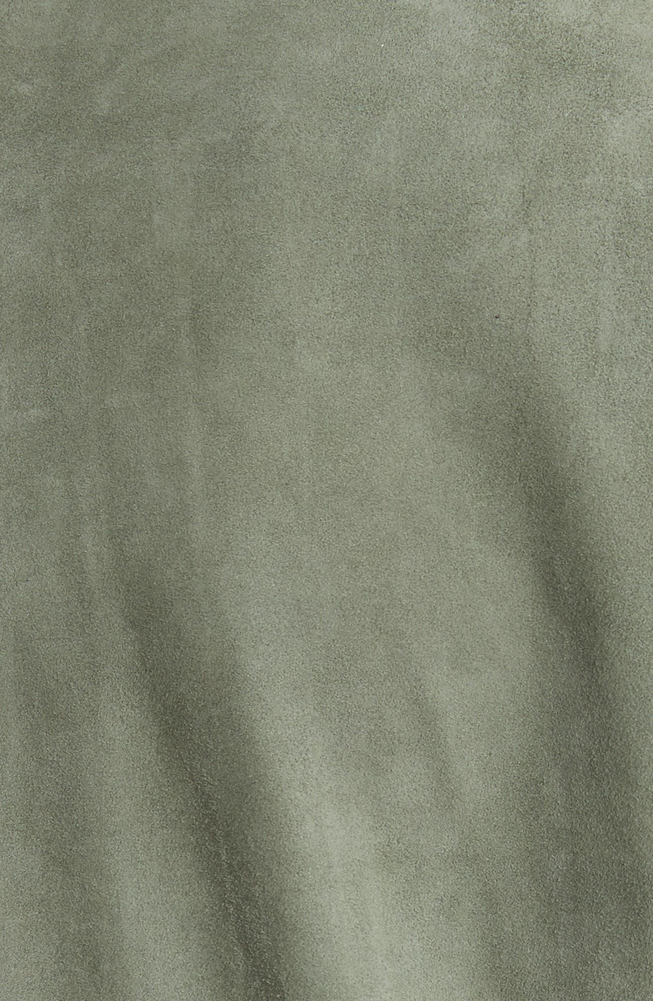 Suede Safari Jacket,                             Alternate thumbnail 6, color,                             Dark Mint