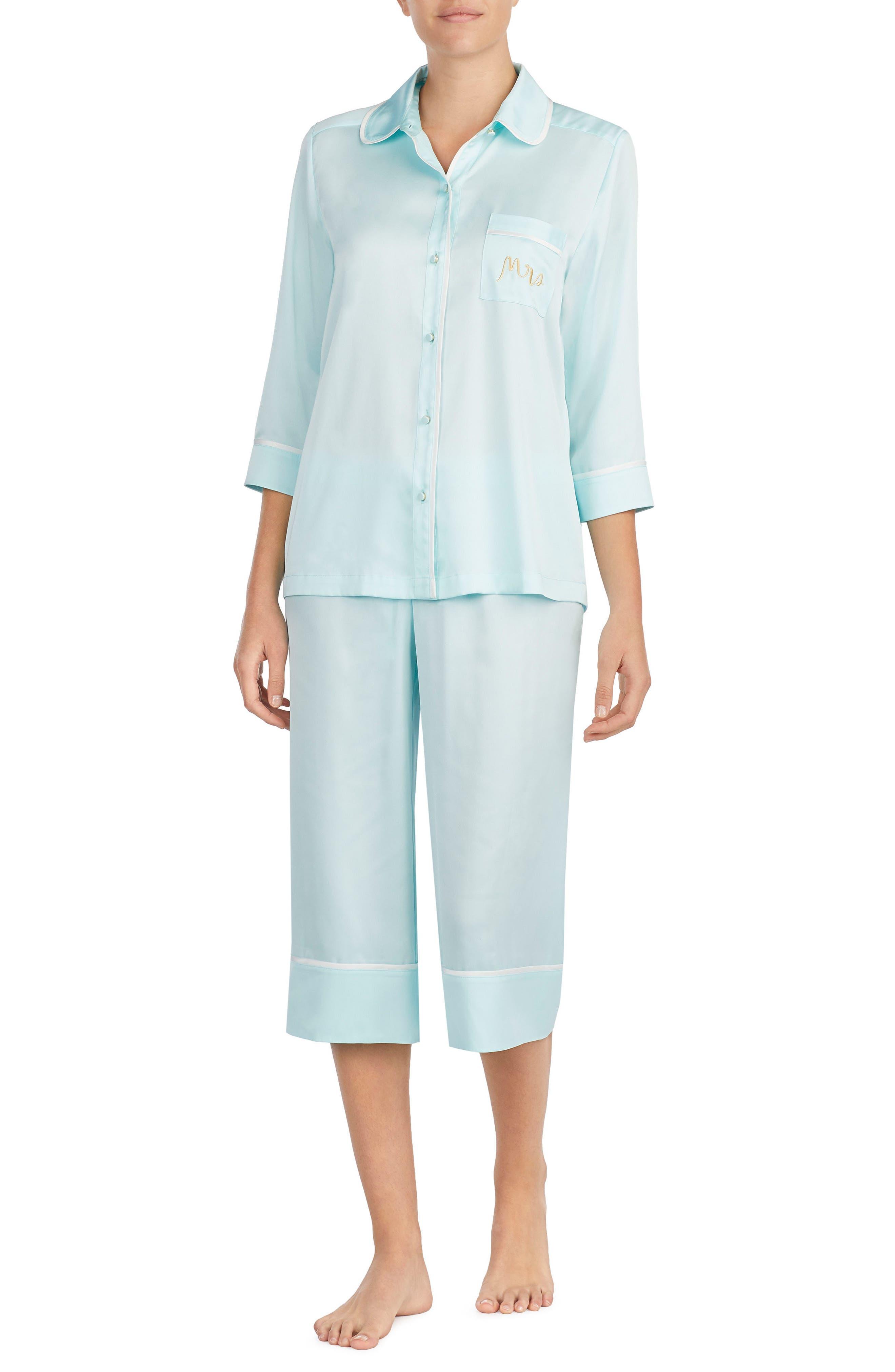 Main Image - kate spade new york mrs charmeuse crop pajamas