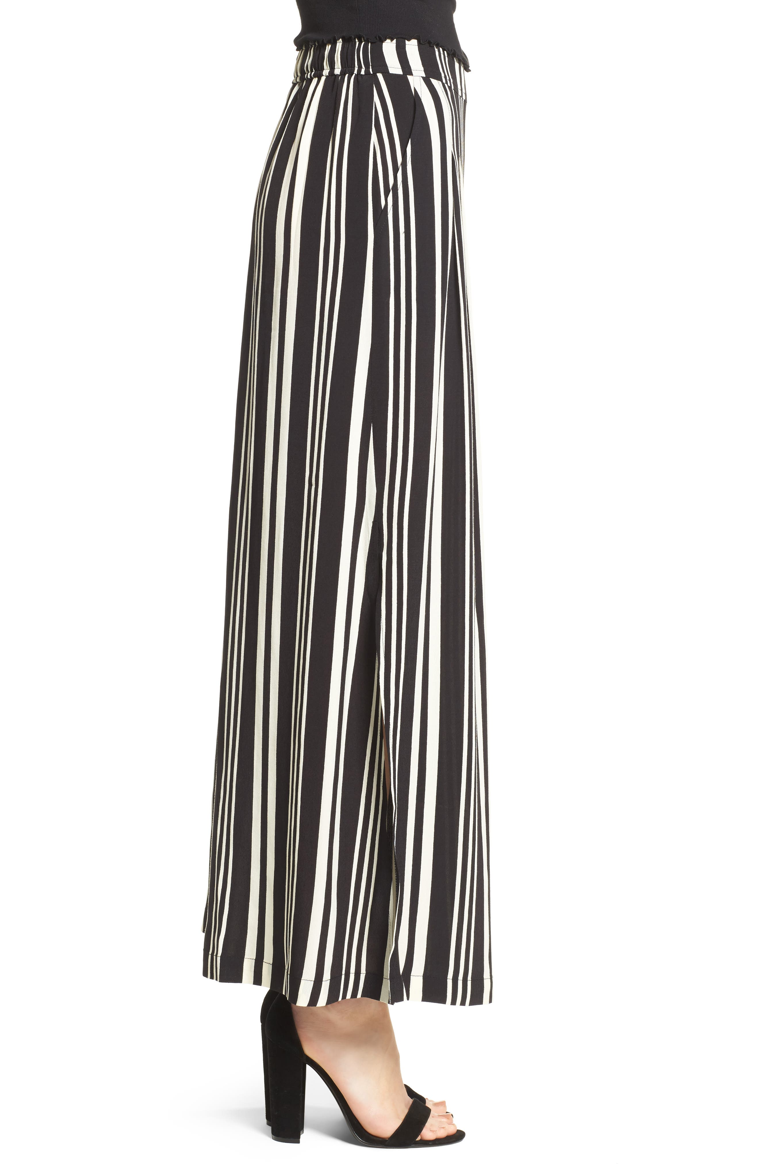 Split Leg Pants,                             Alternate thumbnail 3, color,                             Black Bold Wide Sripe