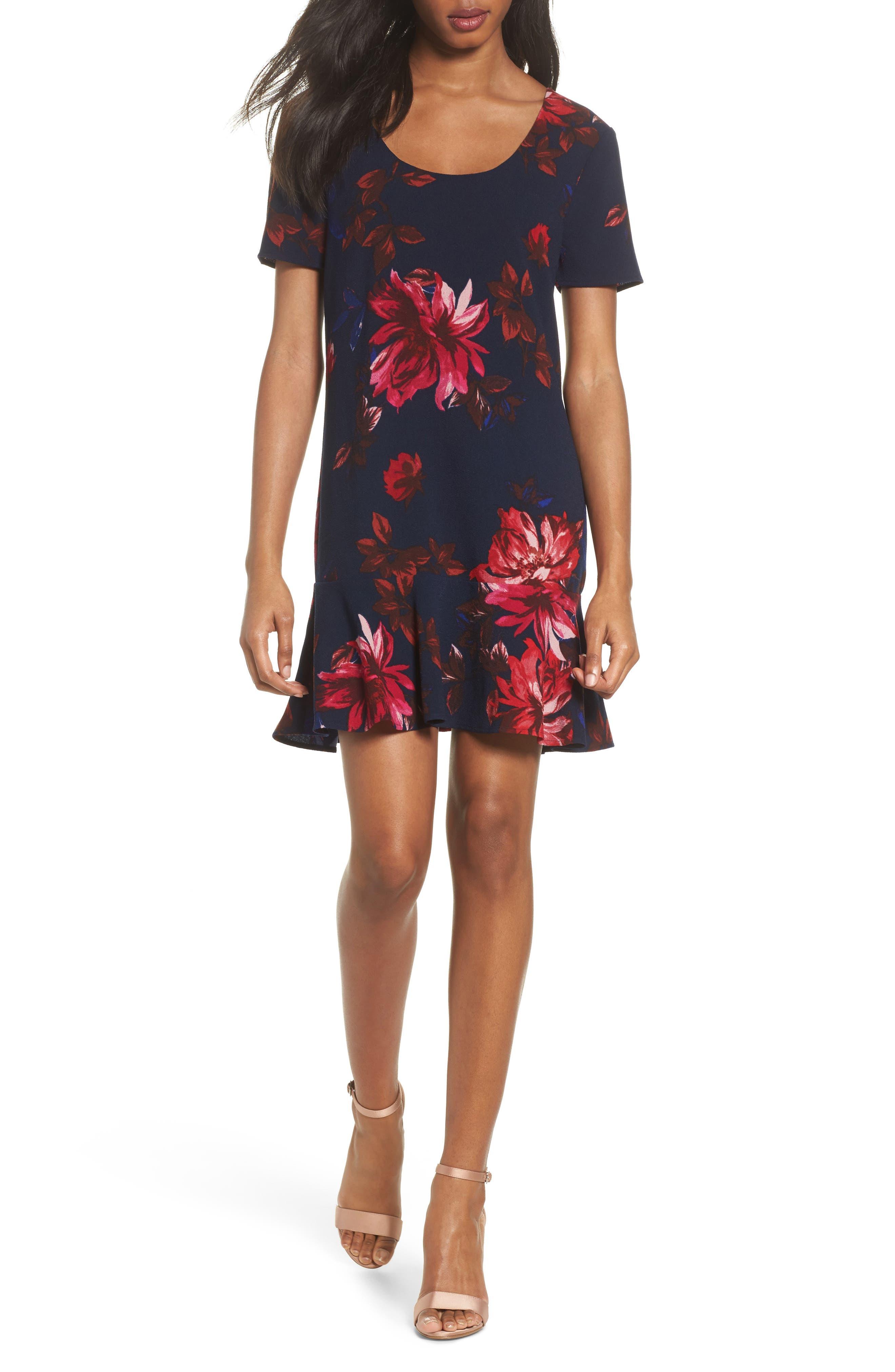 Floral Shift Dress,                         Main,                         color, Navy Floral
