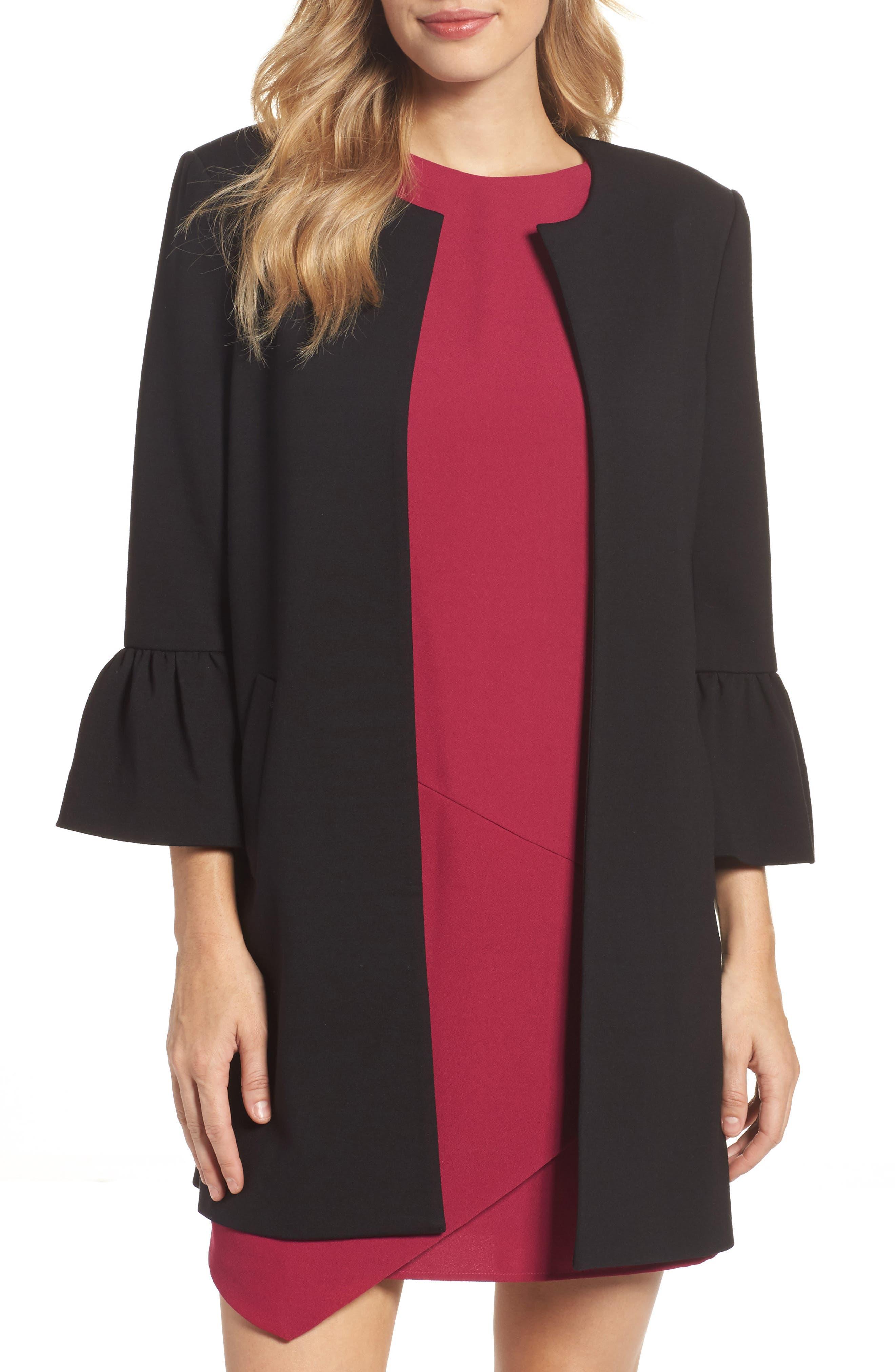 Alternate Image 1 Selected - Eliza J Longline Bell Sleeve Jacket