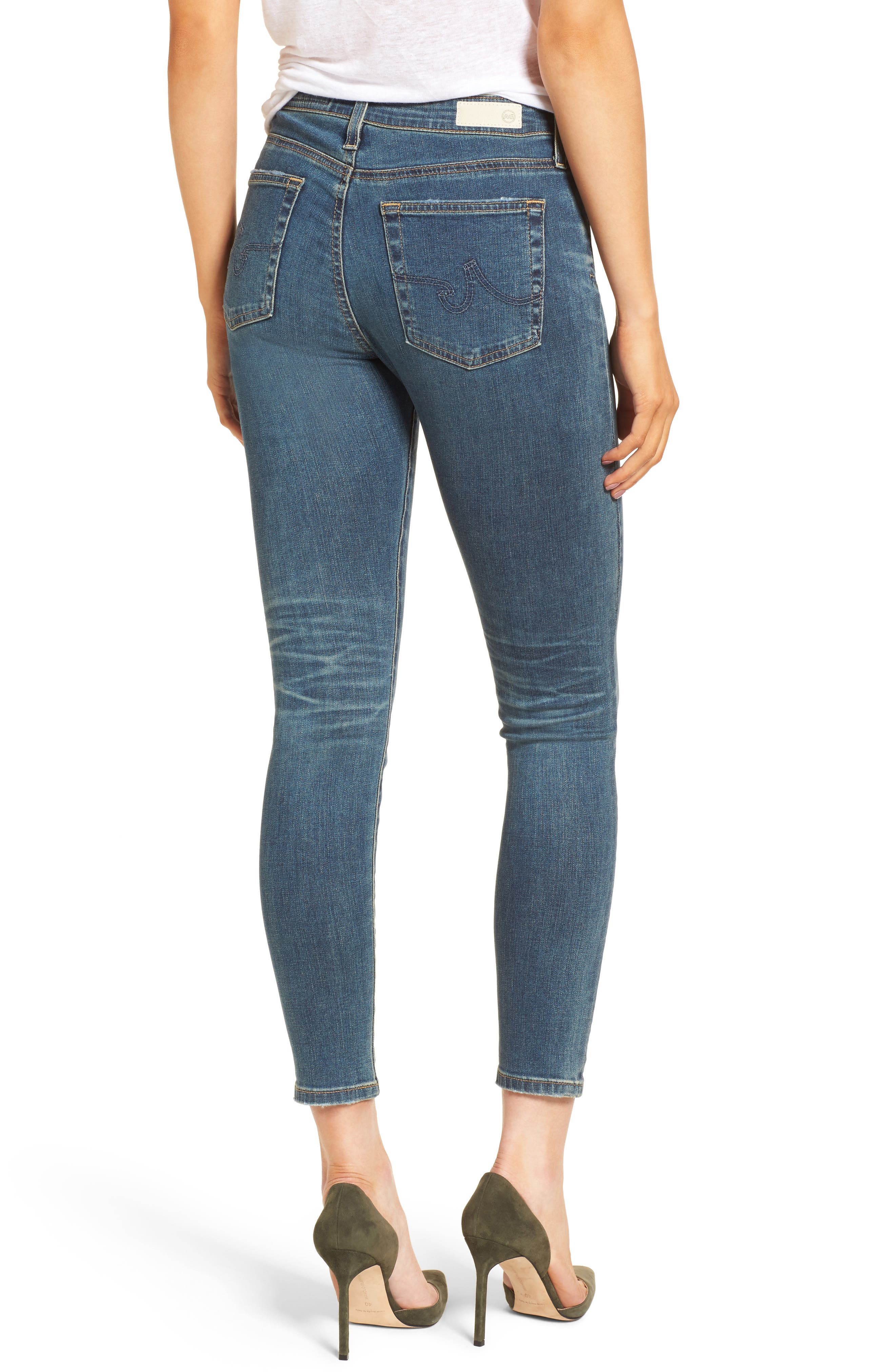 Alternate Image 2  - AG The Farrah High Waist Ankle Skinny Jeans (10 Years Brewed)