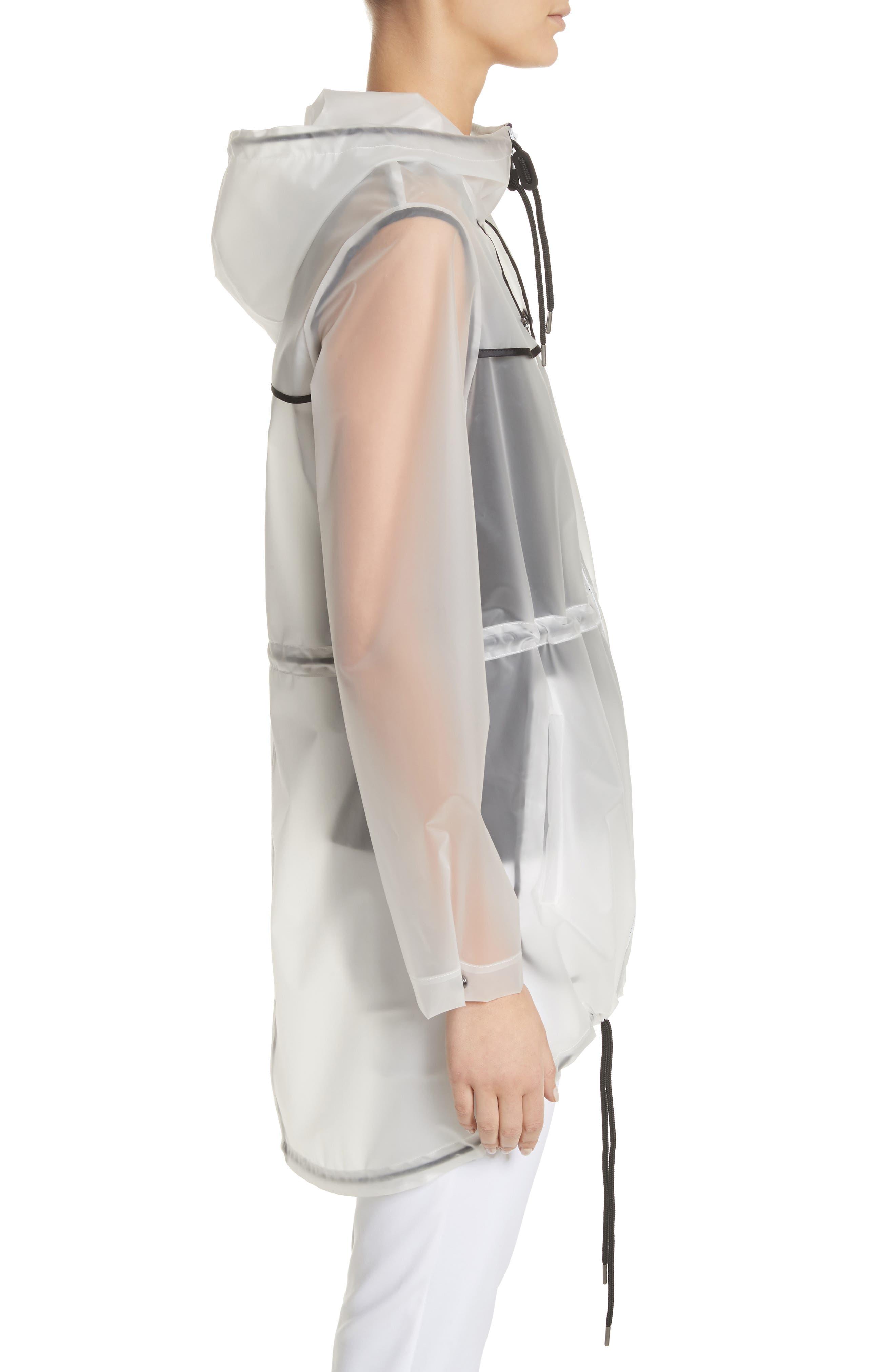 Clear Hooded Raincoat,                             Alternate thumbnail 3, color,                             White