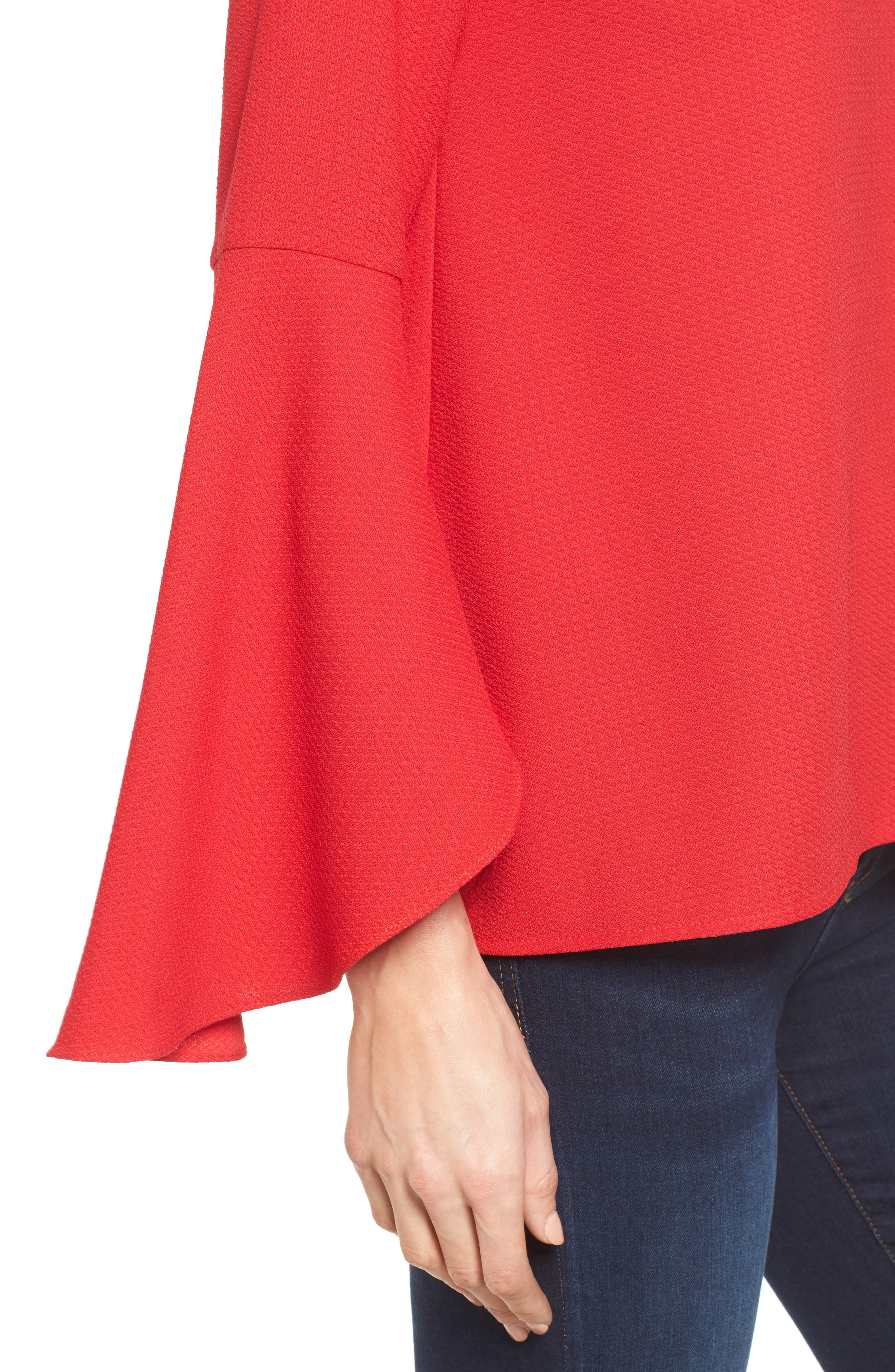 Bell Sleeve Top,                             Alternate thumbnail 4, color,                             Red Pepper