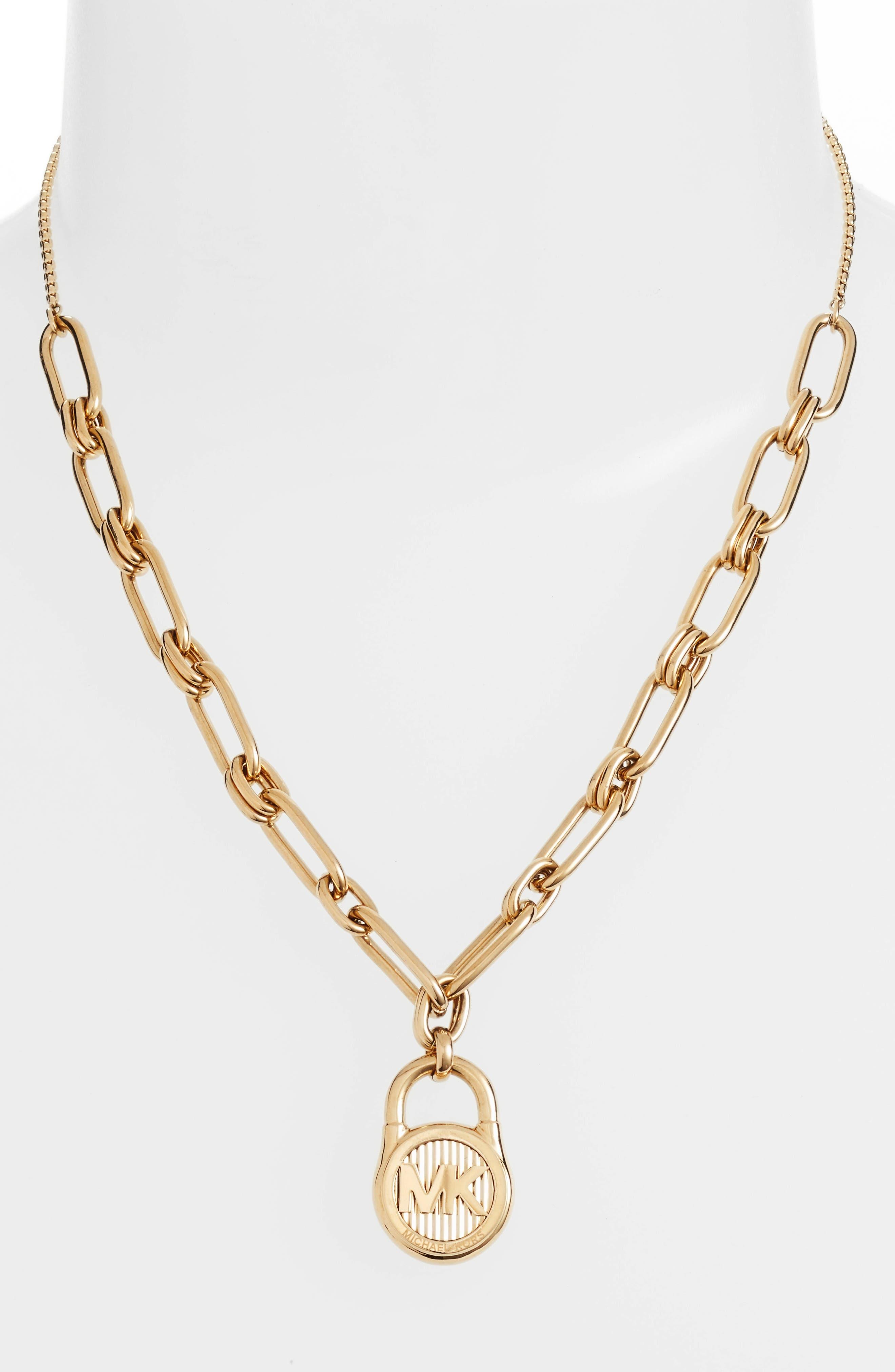 Padlock Pendant Necklace,                         Main,                         color, Gold