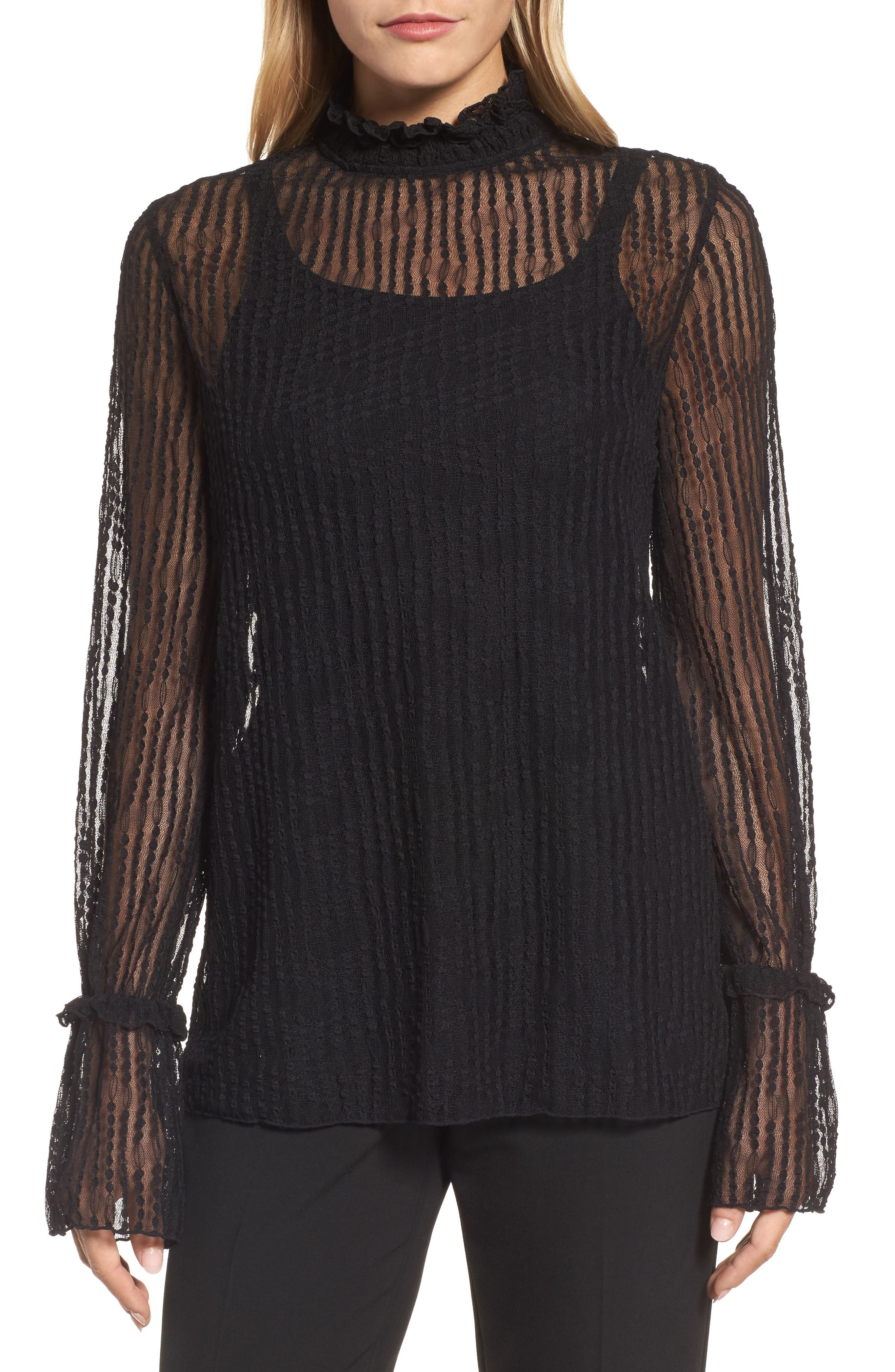 Bell Sleeve Stretch Lace Blouse,                             Main thumbnail 1, color,                             Black