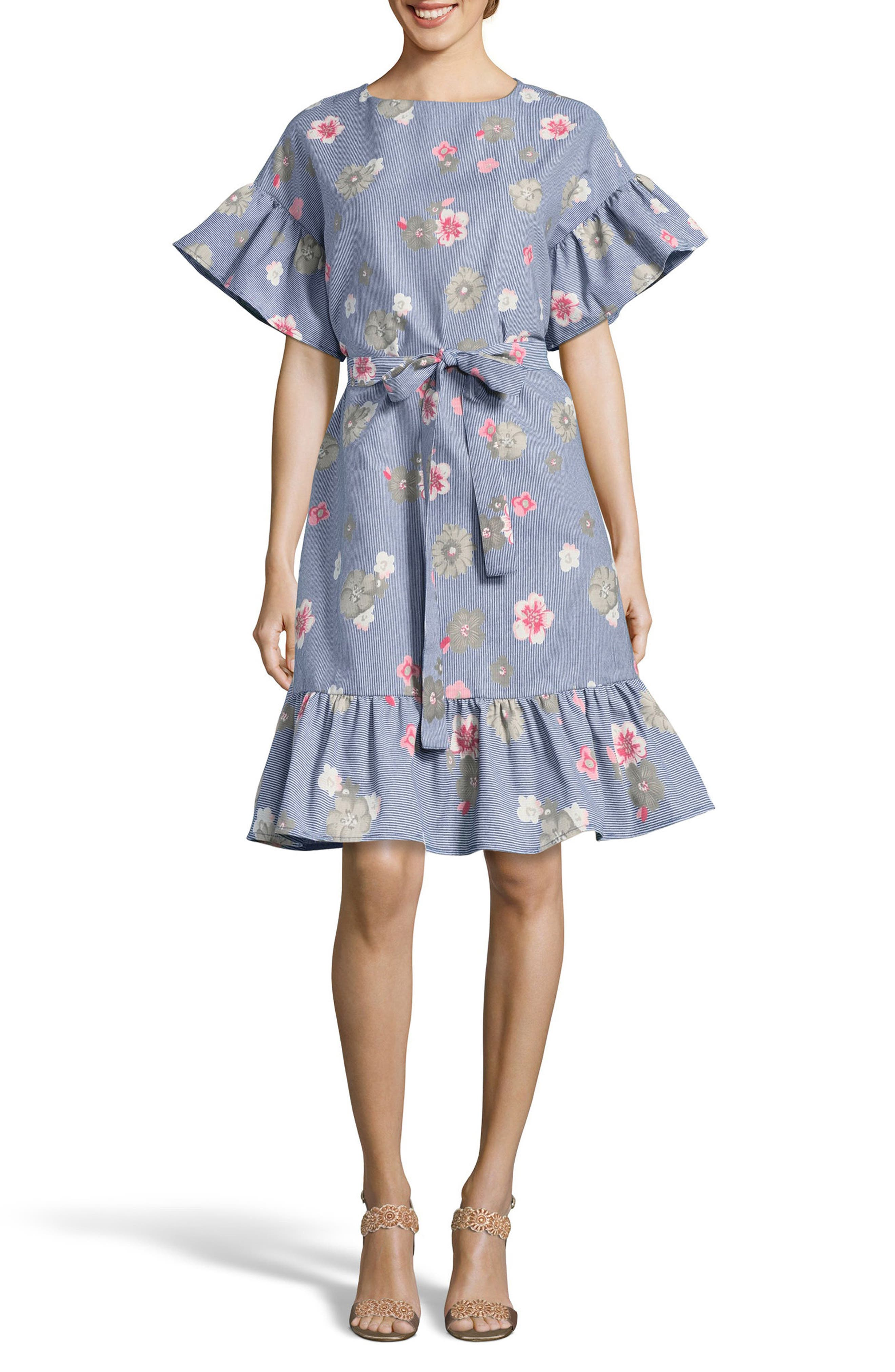 Embroidered Shift Dress,                         Main,                         color, Blue/ Ivory