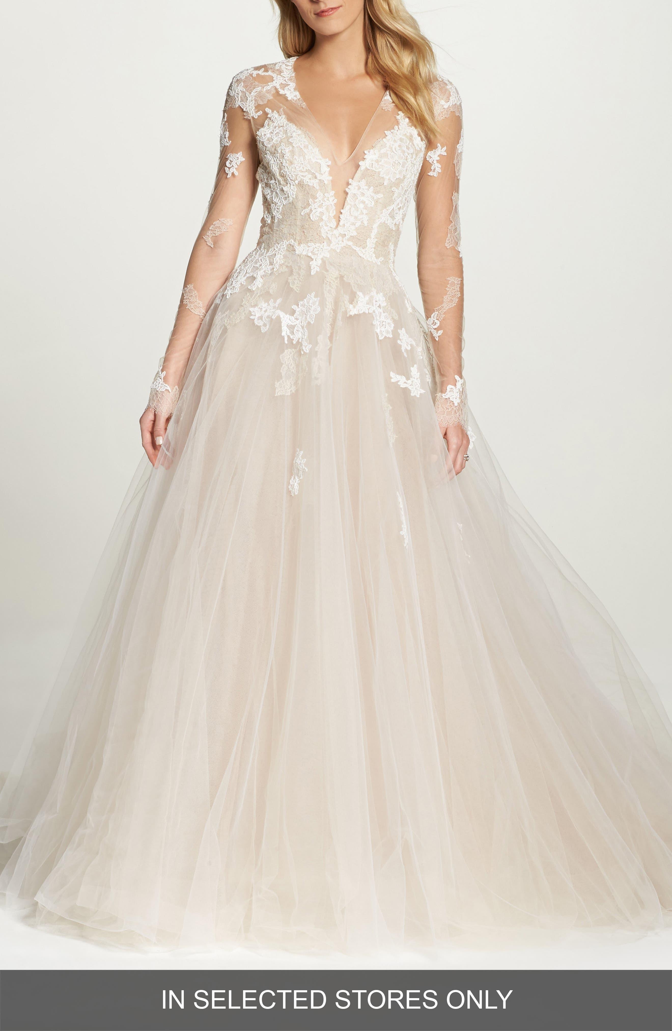 Rachelle Illusion Long Sleeve Princess Gown,                         Main,                         color, Latte
