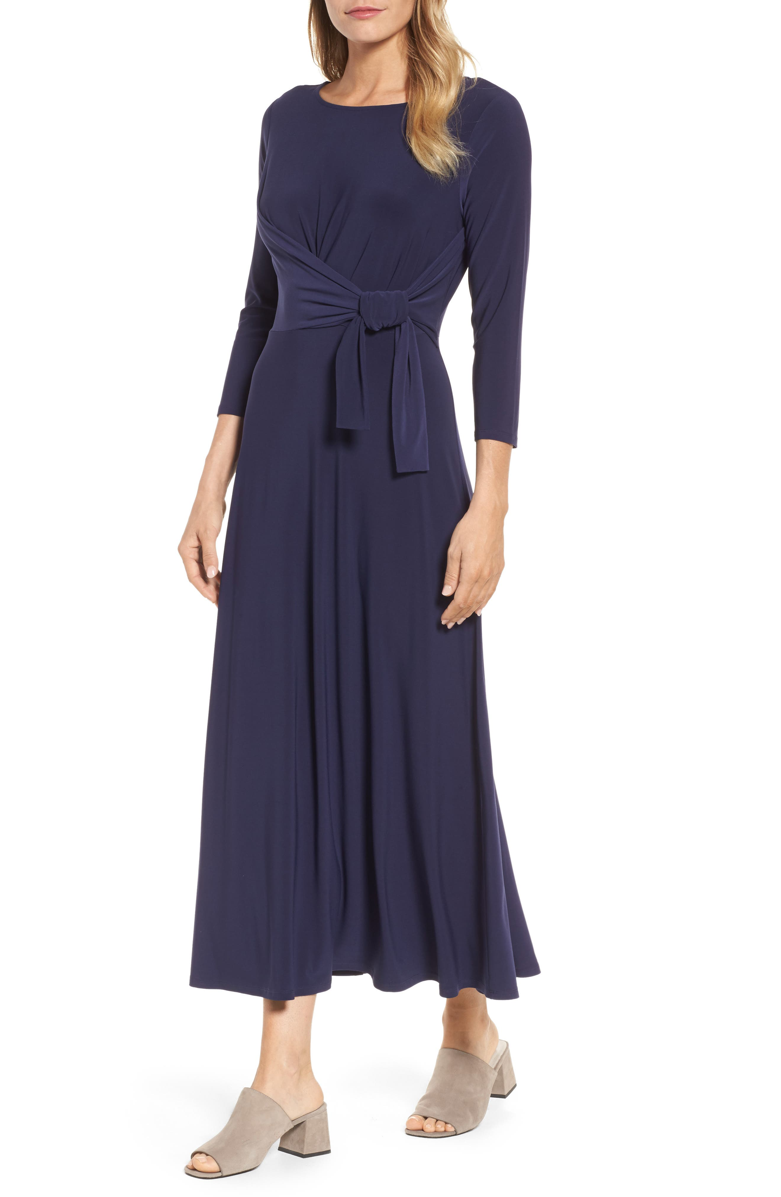 Cahus Faux Wrap Midi Dress,                             Main thumbnail 1, color,                             Evening Na