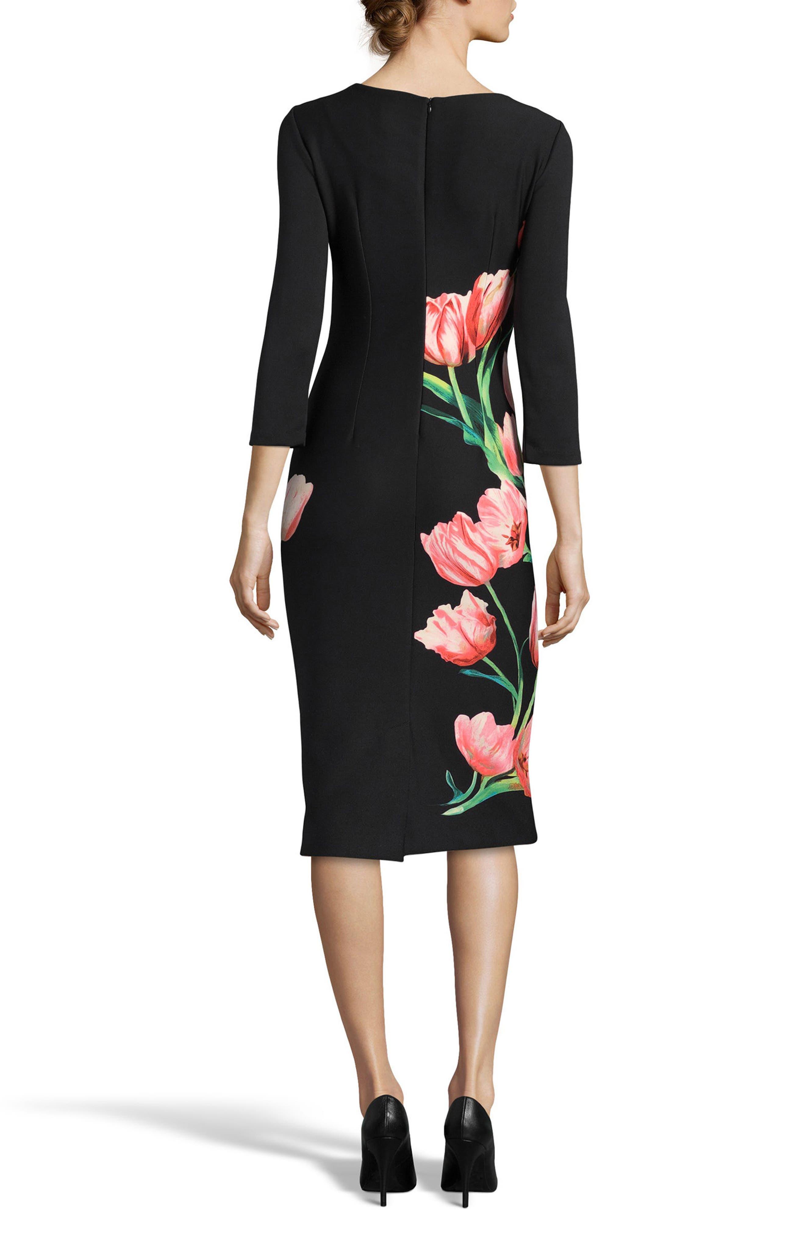 Print Sheath Dress,                             Alternate thumbnail 2, color,                             Black/ Red