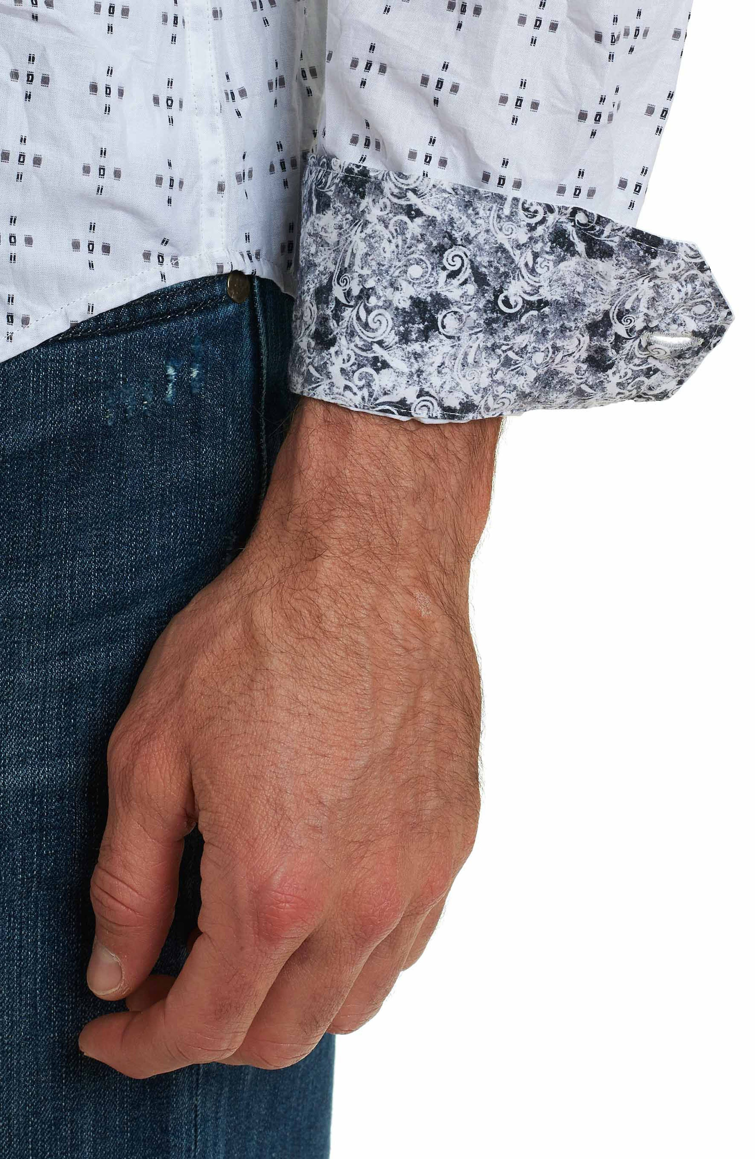 Steger Classic Fit Print Sport Shirt,                             Alternate thumbnail 6, color,                             White