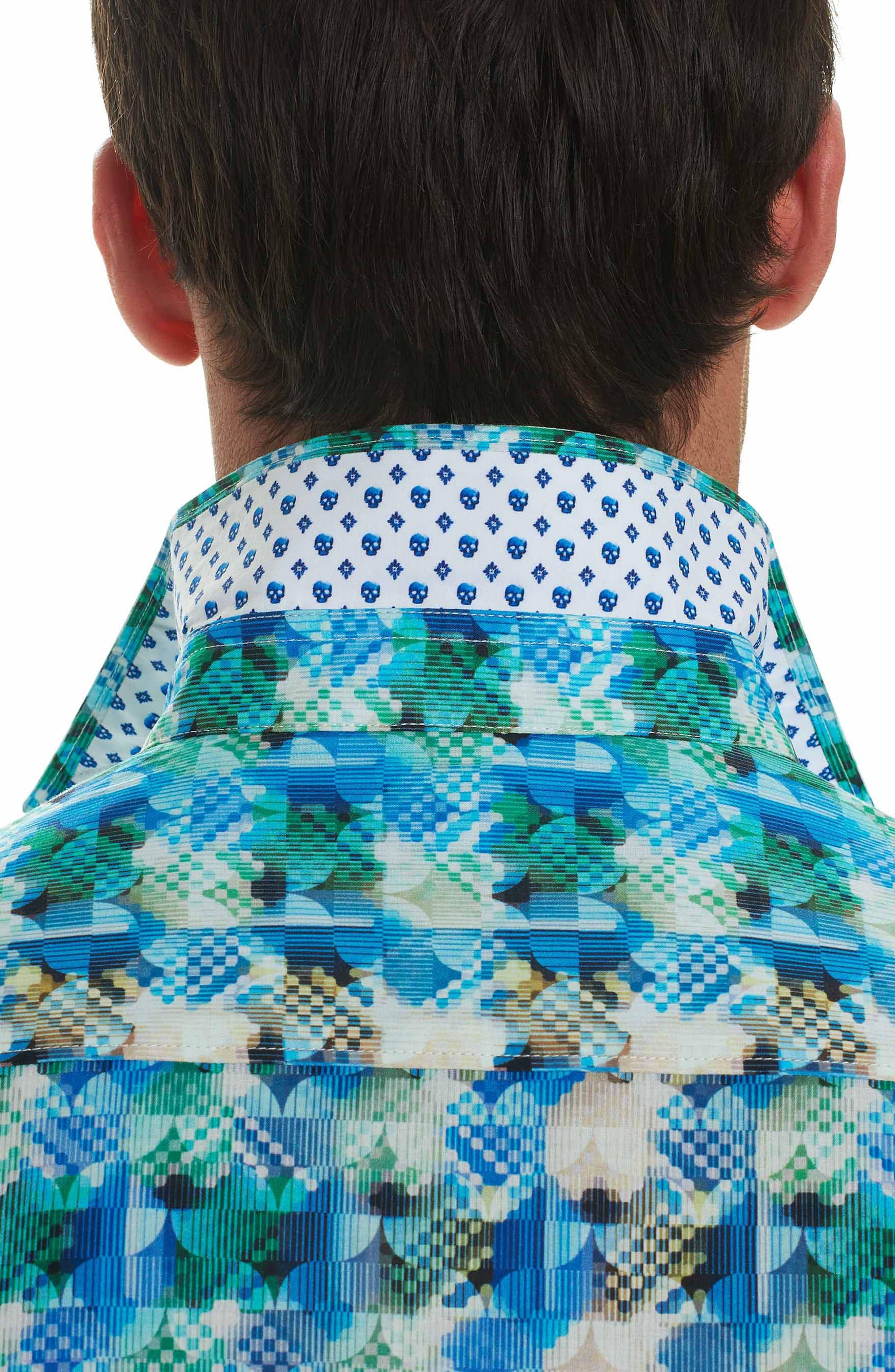 Illusions Sport Shirt,                             Alternate thumbnail 3, color,                             Turquoise
