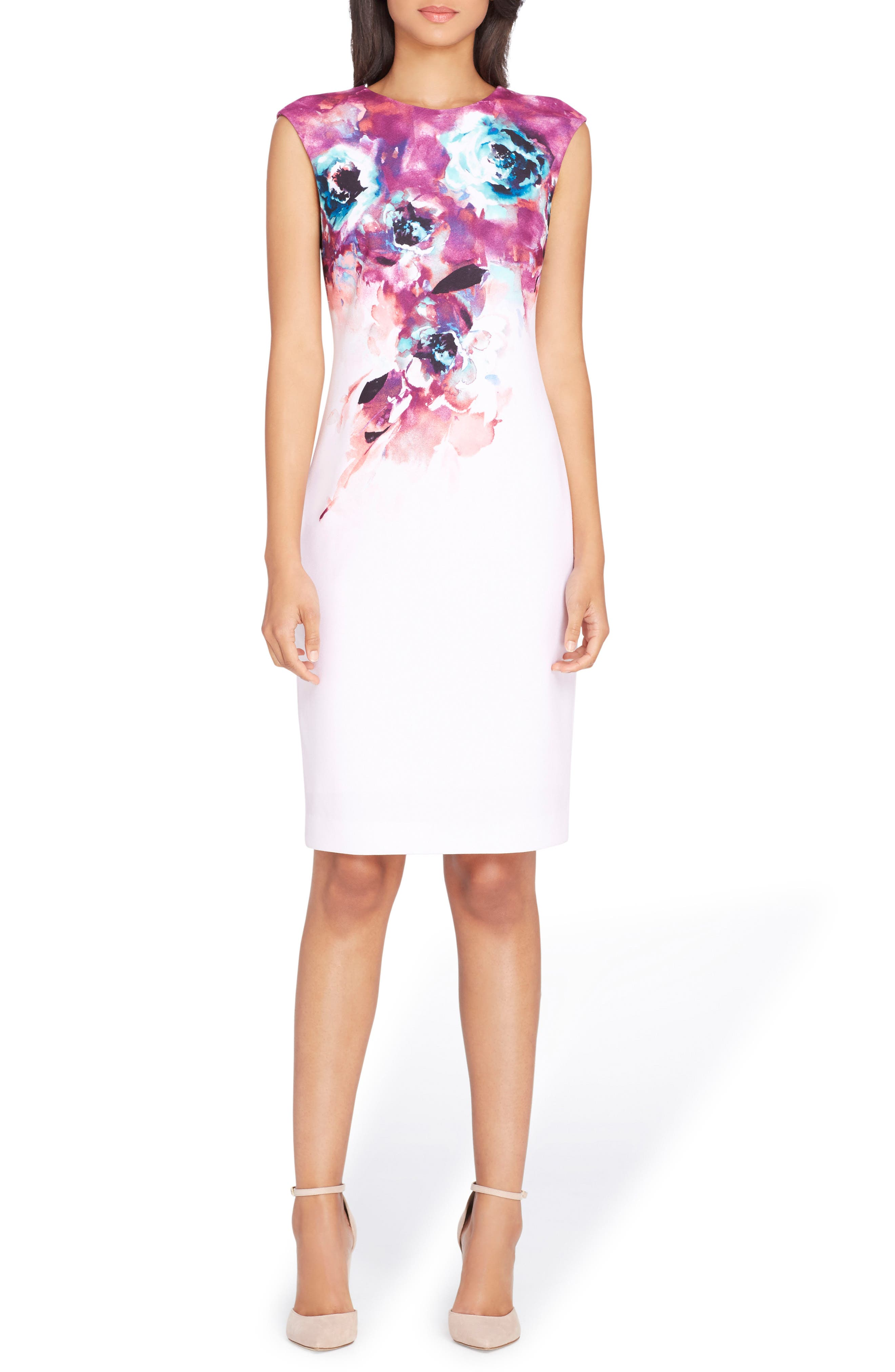 Floral Sheath Dress,                         Main,                         color, Blush/ Berry/ Teal