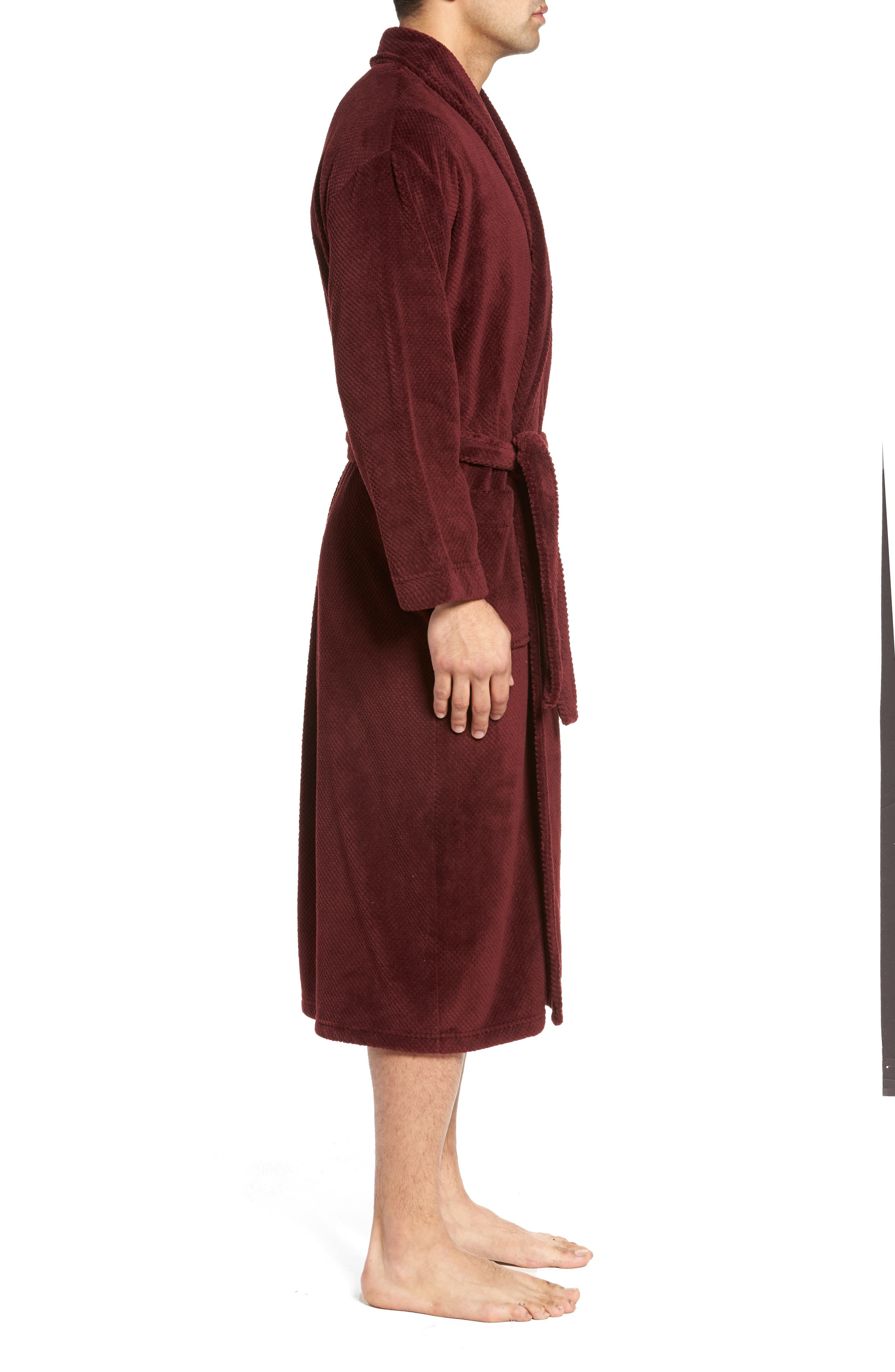Fleece Robe,                             Alternate thumbnail 3, color,                             Burgundy