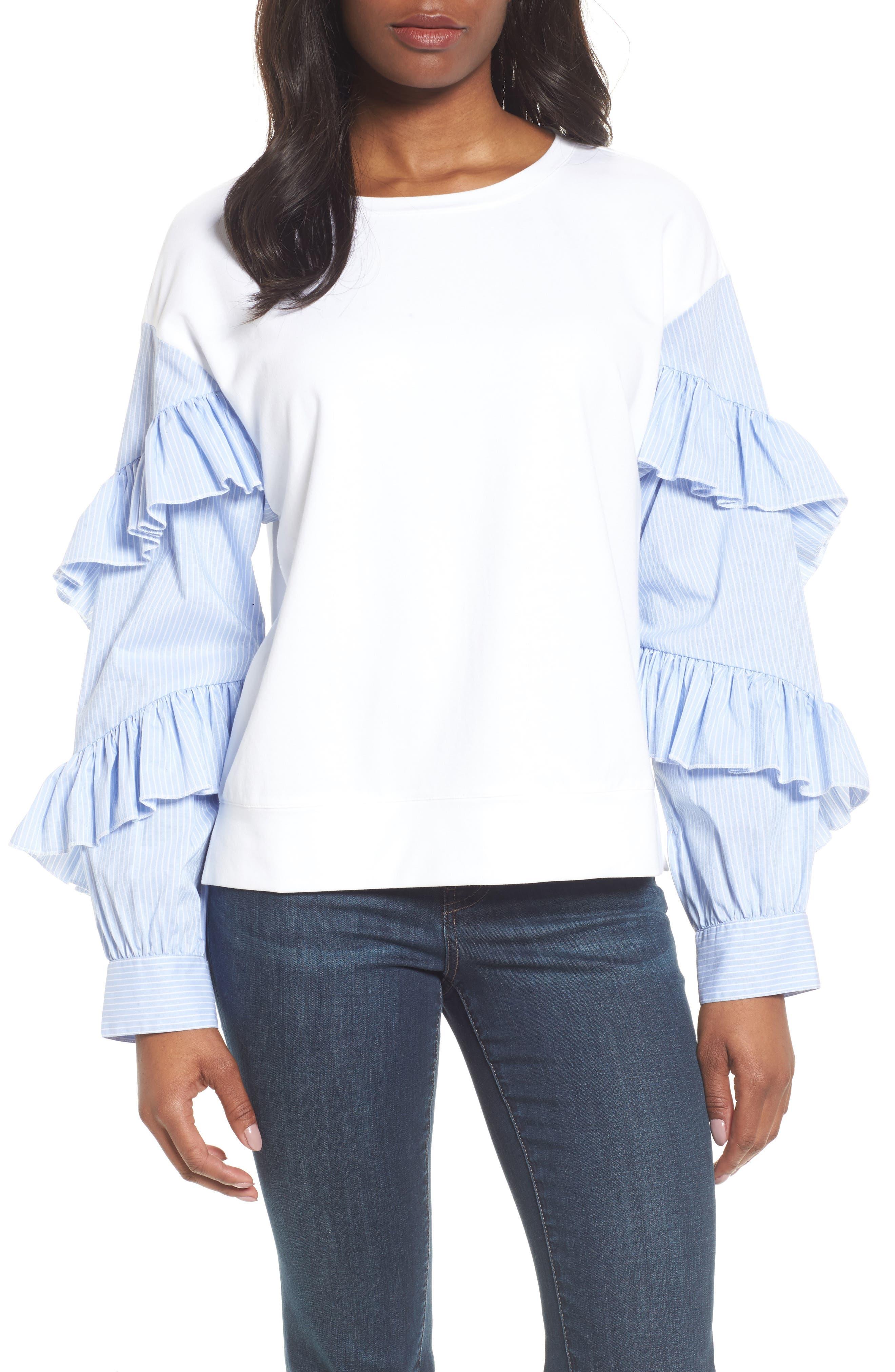 Main Image - Halogen® Poplin Ruffle Sleeve Sweatshirt (Regular & Petite)