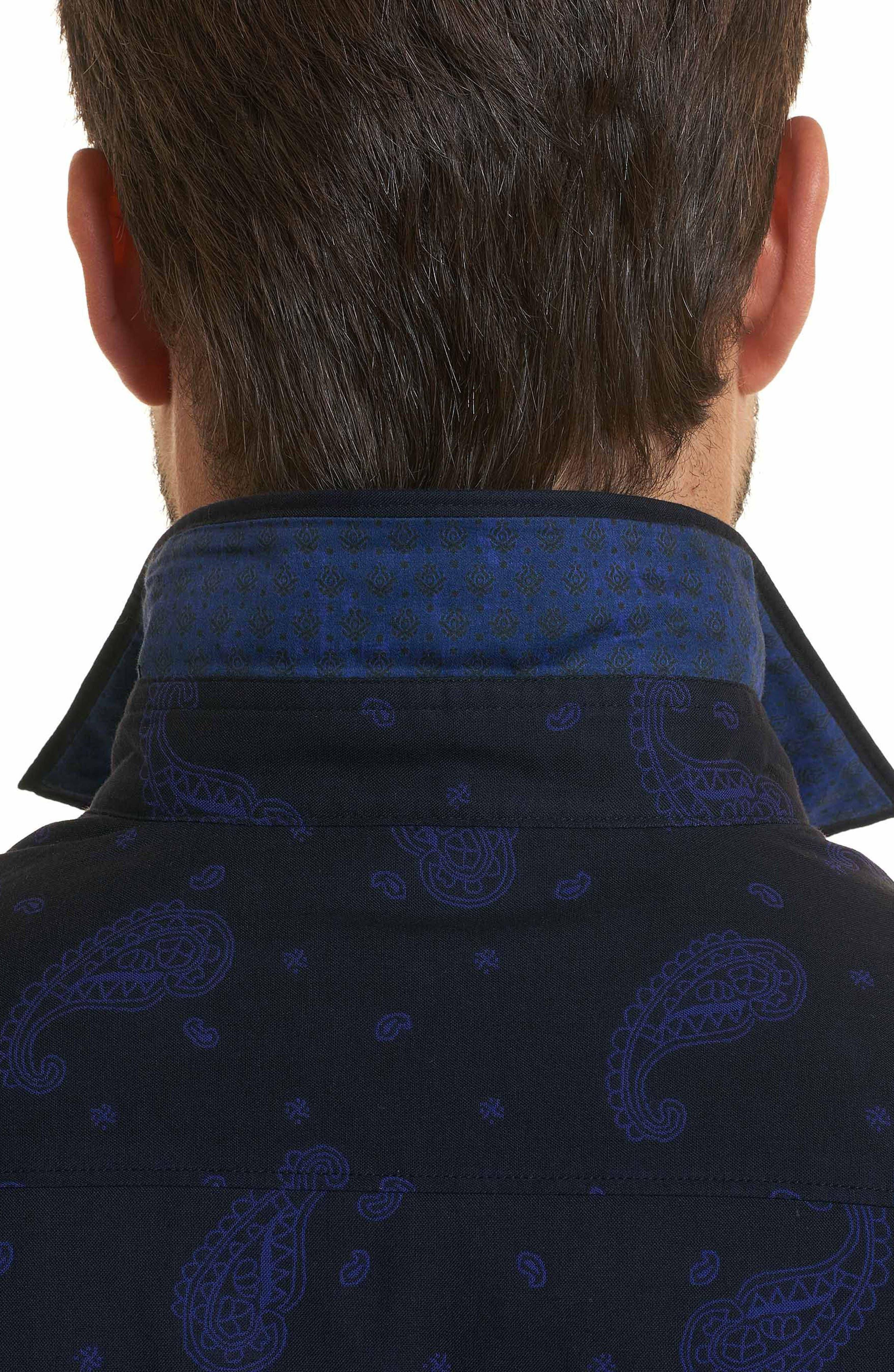 Scatter Paisley Classic Fit Sport Shirt,                             Alternate thumbnail 3, color,                             Black