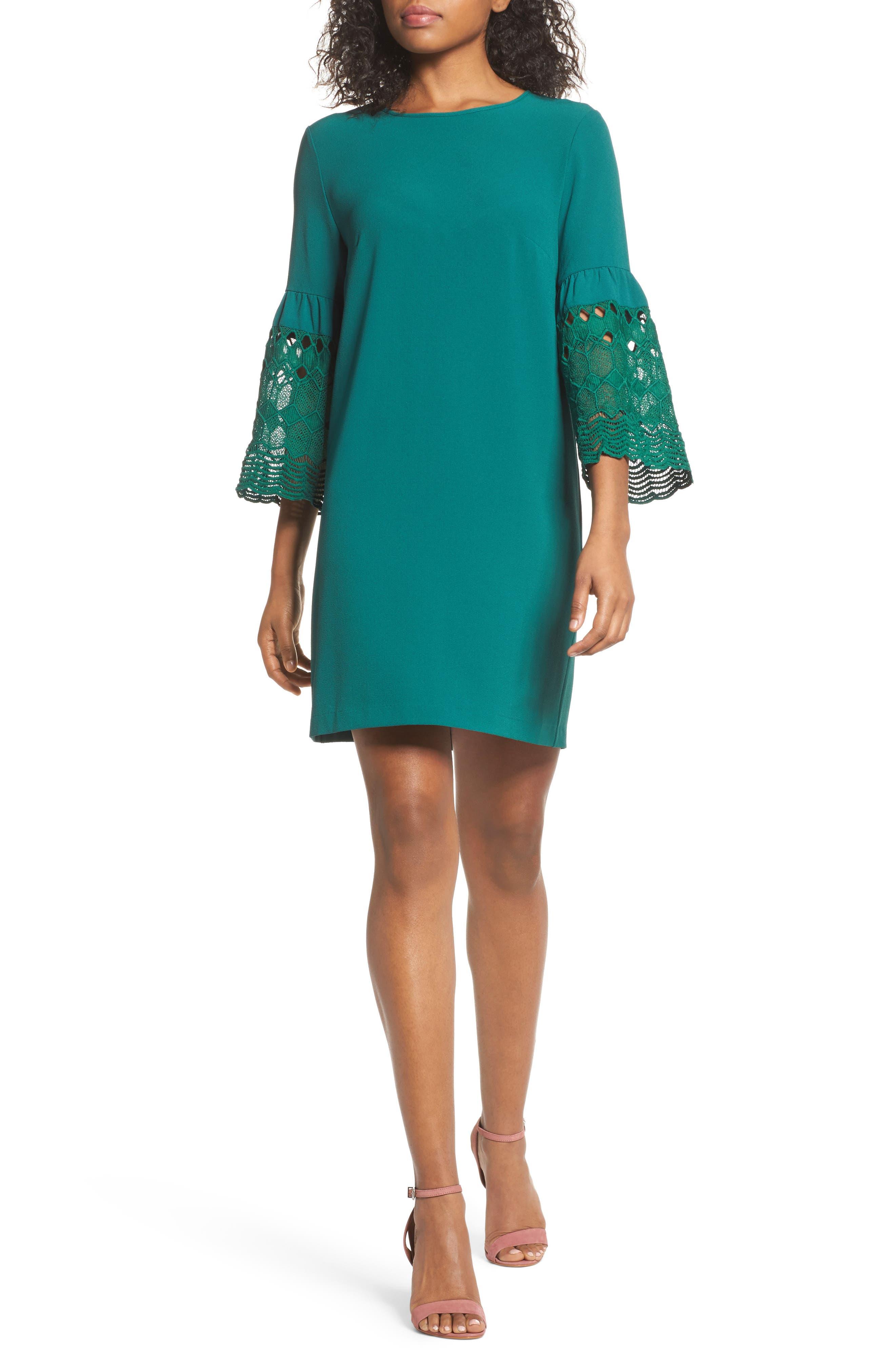 Lace Sleeve Shift Dress,                         Main,                         color, Pine