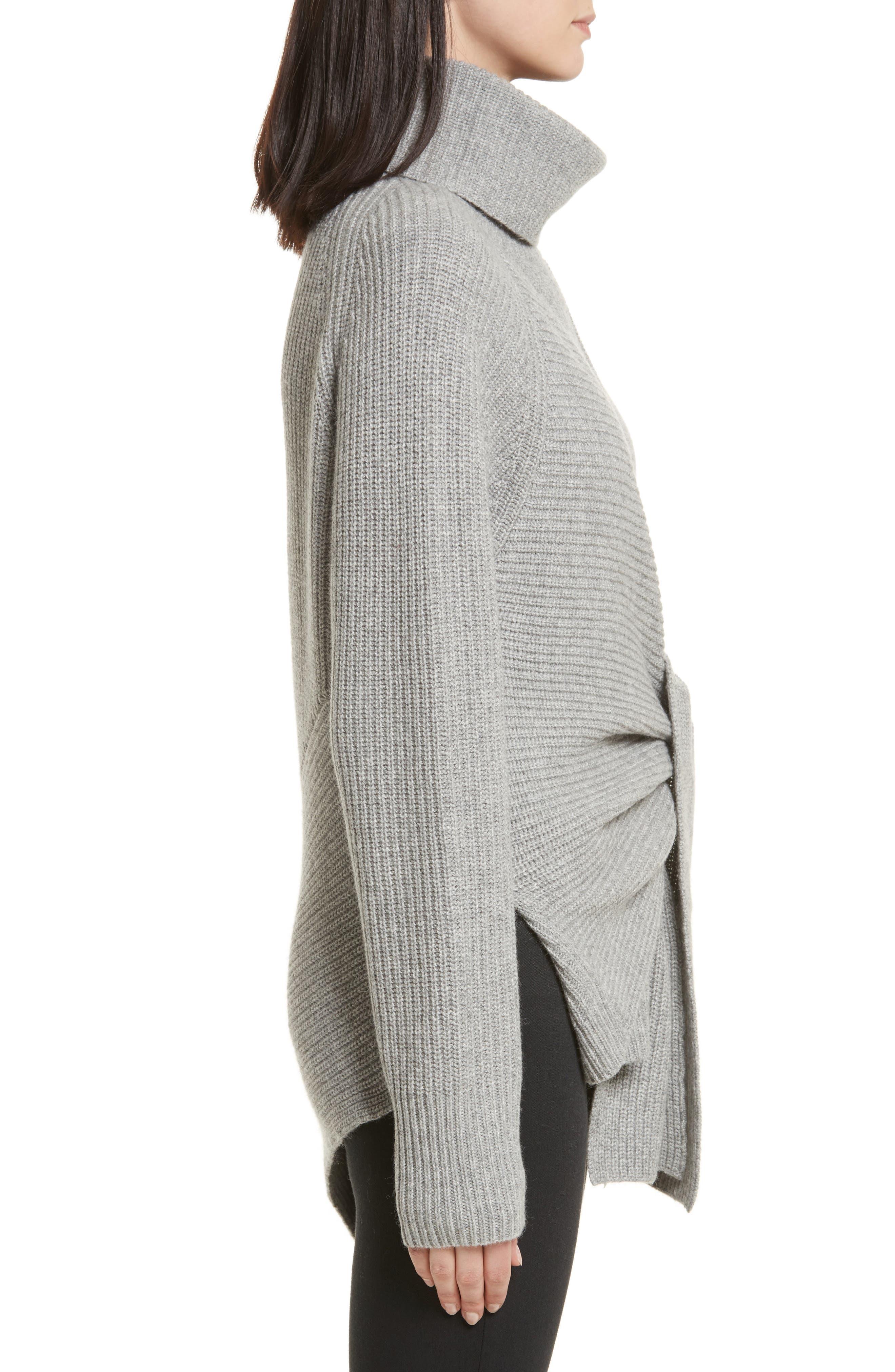 Bree Wrap Waist Sweater,                             Alternate thumbnail 4, color,                             Dovetail Melange