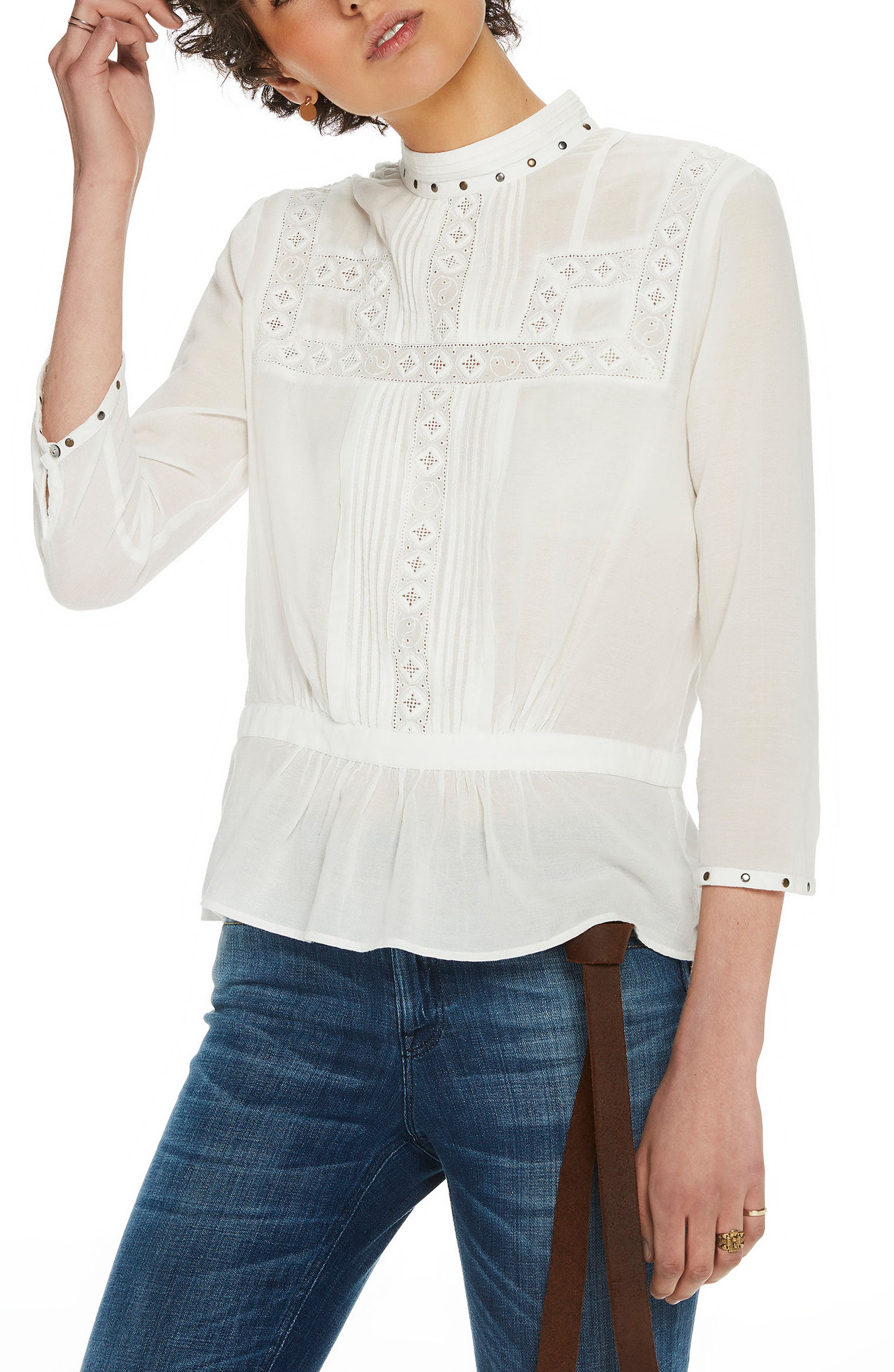 Embellished Top,                         Main,                         color, White