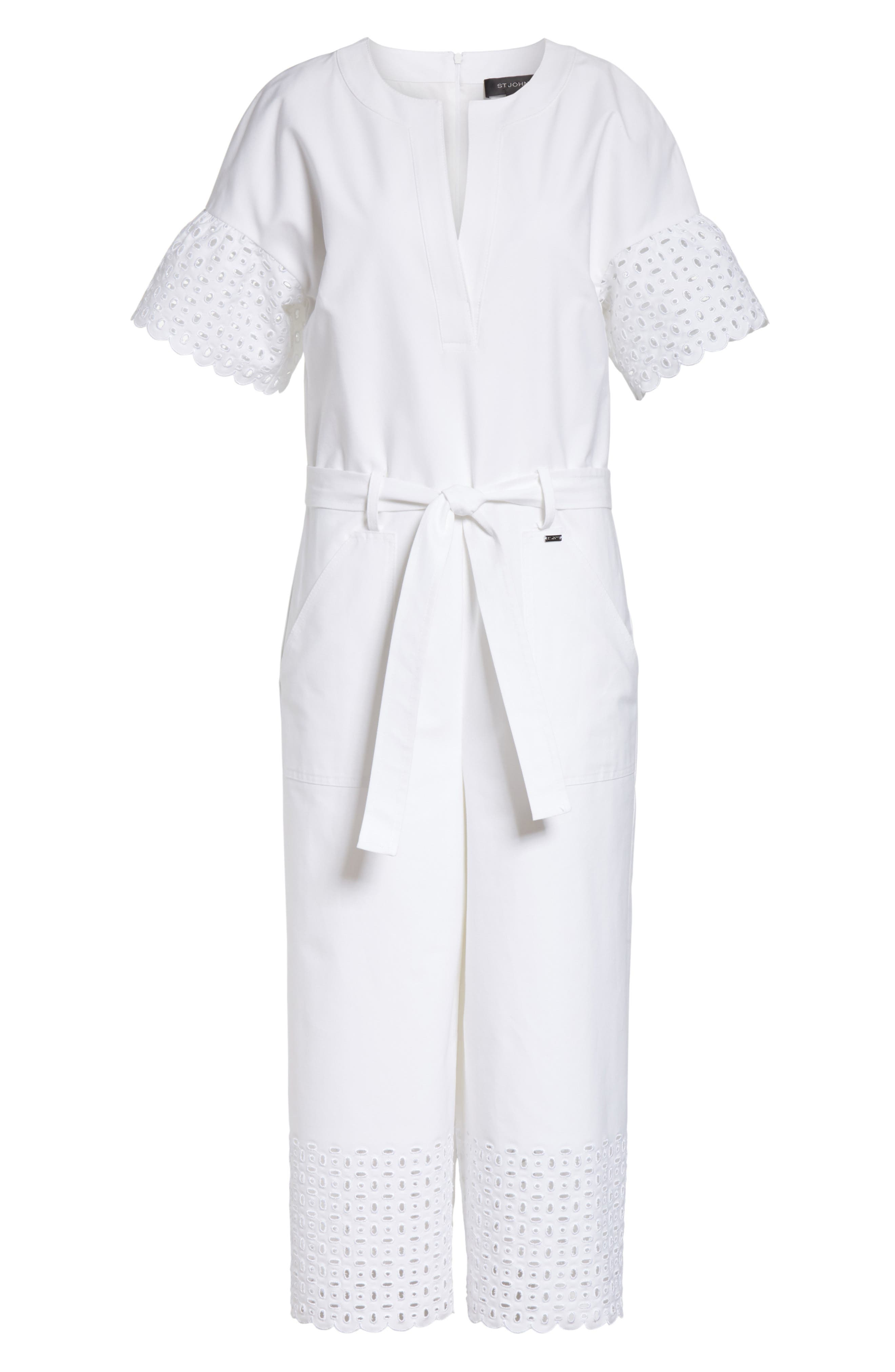 Eyelet Trim Stretch Twill Jumpsuit,                             Alternate thumbnail 7, color,                             Bianco