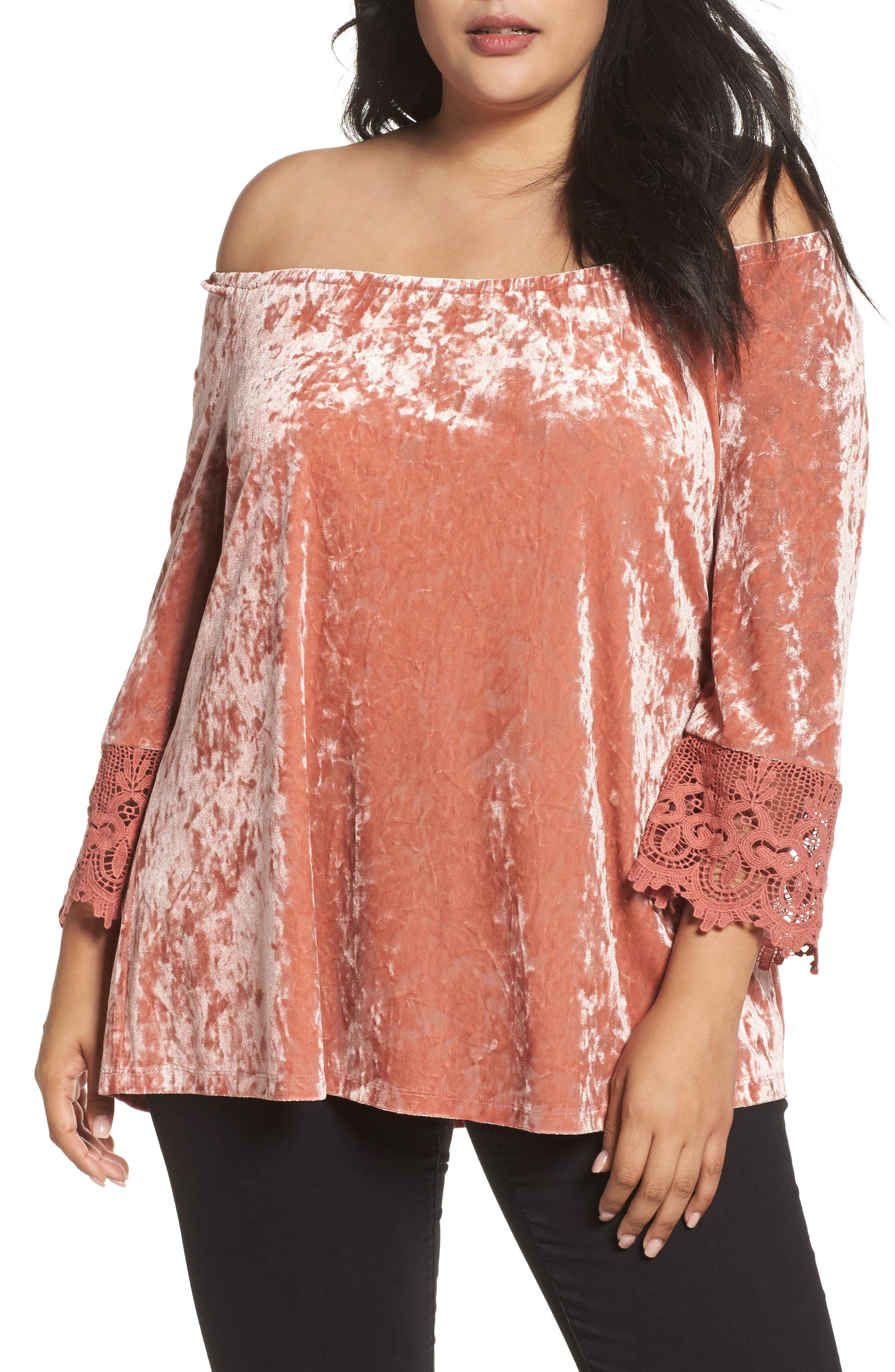 Daniel Rainn Off the Shoulder Crushed Velvet Top (Plus Size)