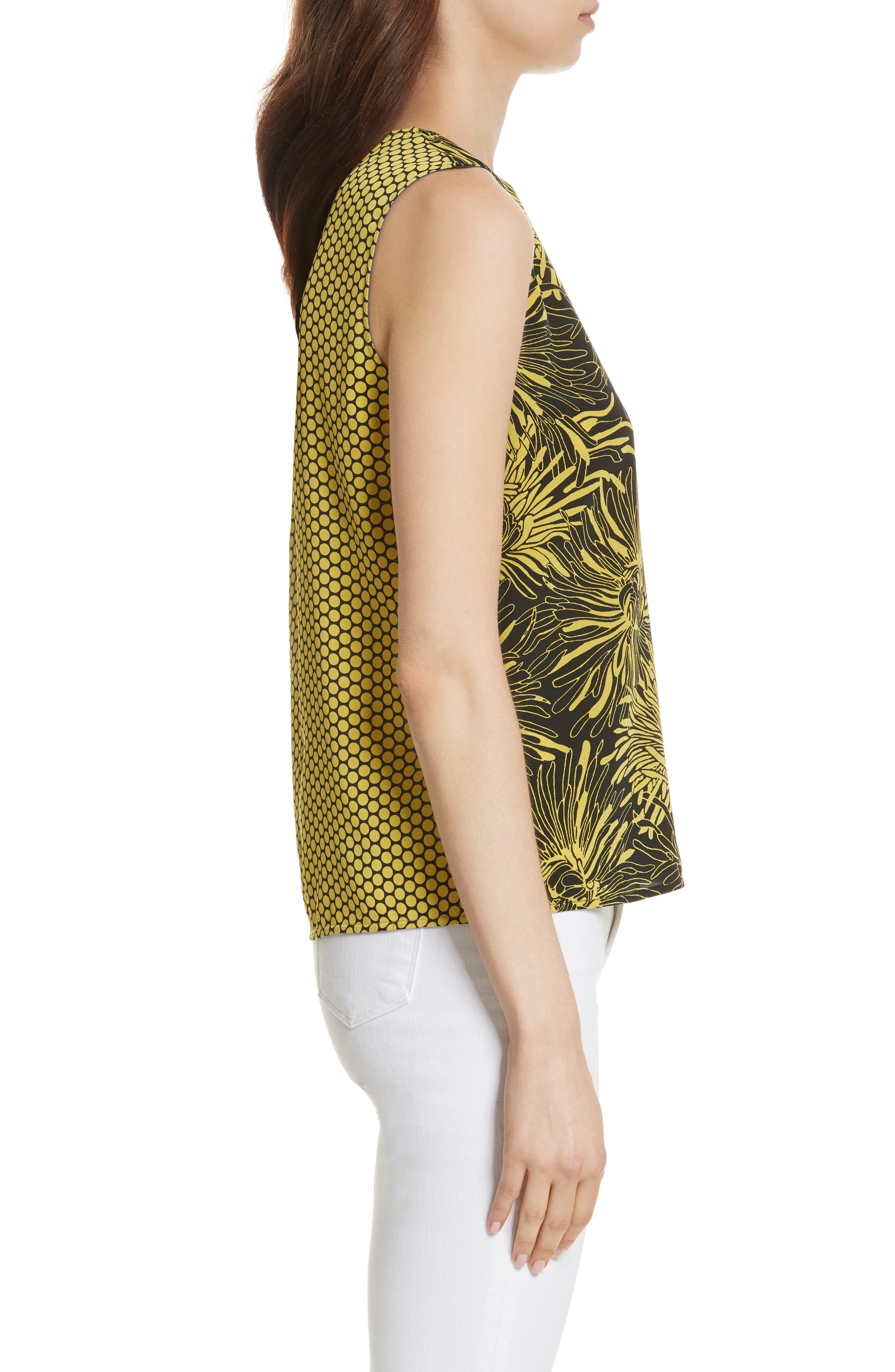 Diane von Furstenberg Floral Print Silk Shell,                             Alternate thumbnail 3, color,                             Worsley Citron/ Rowe Dot