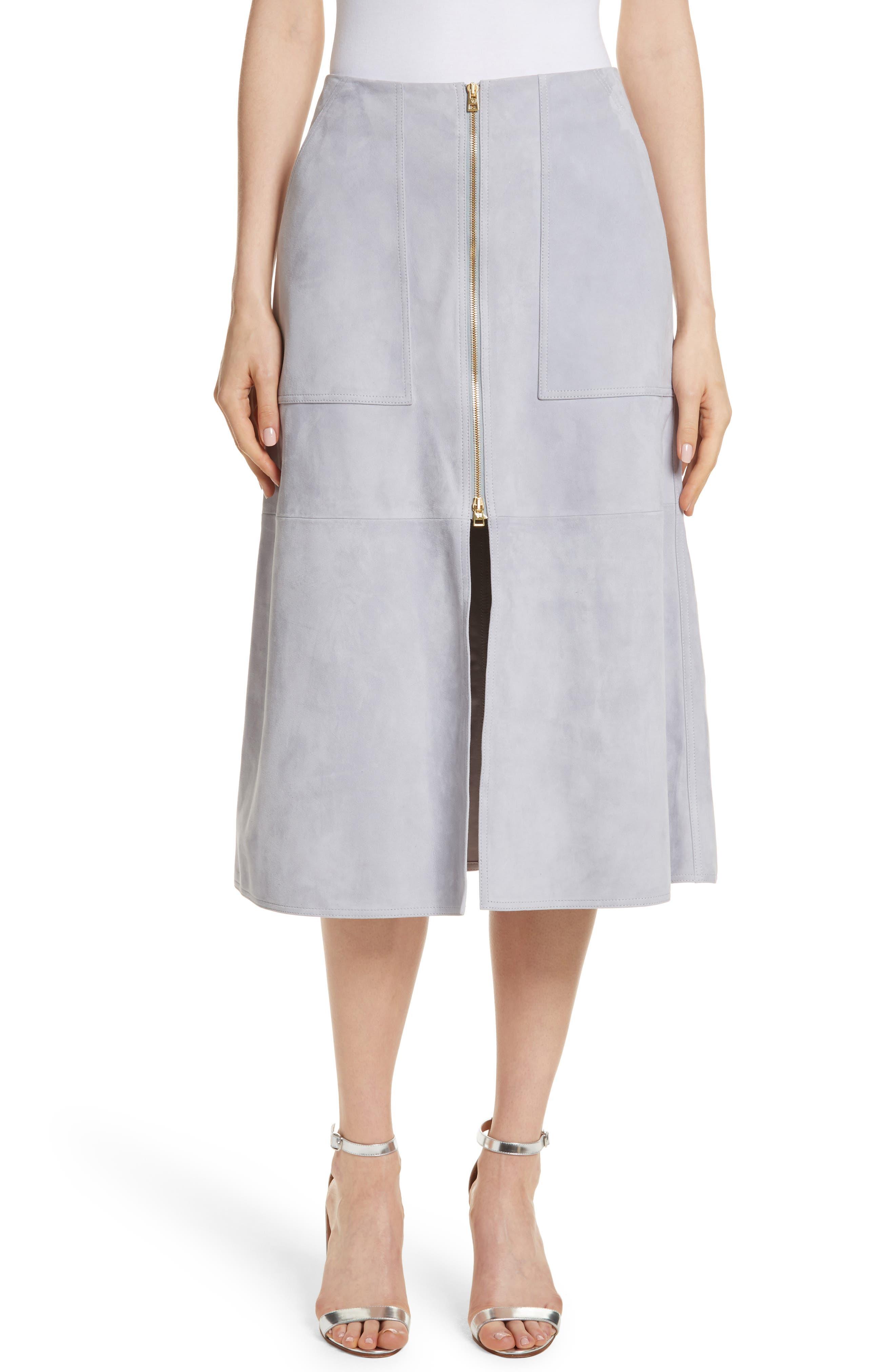 Diane von Furstenberg Patch Pocket Suede Midi Skirt,                             Main thumbnail 1, color,                             Smoke
