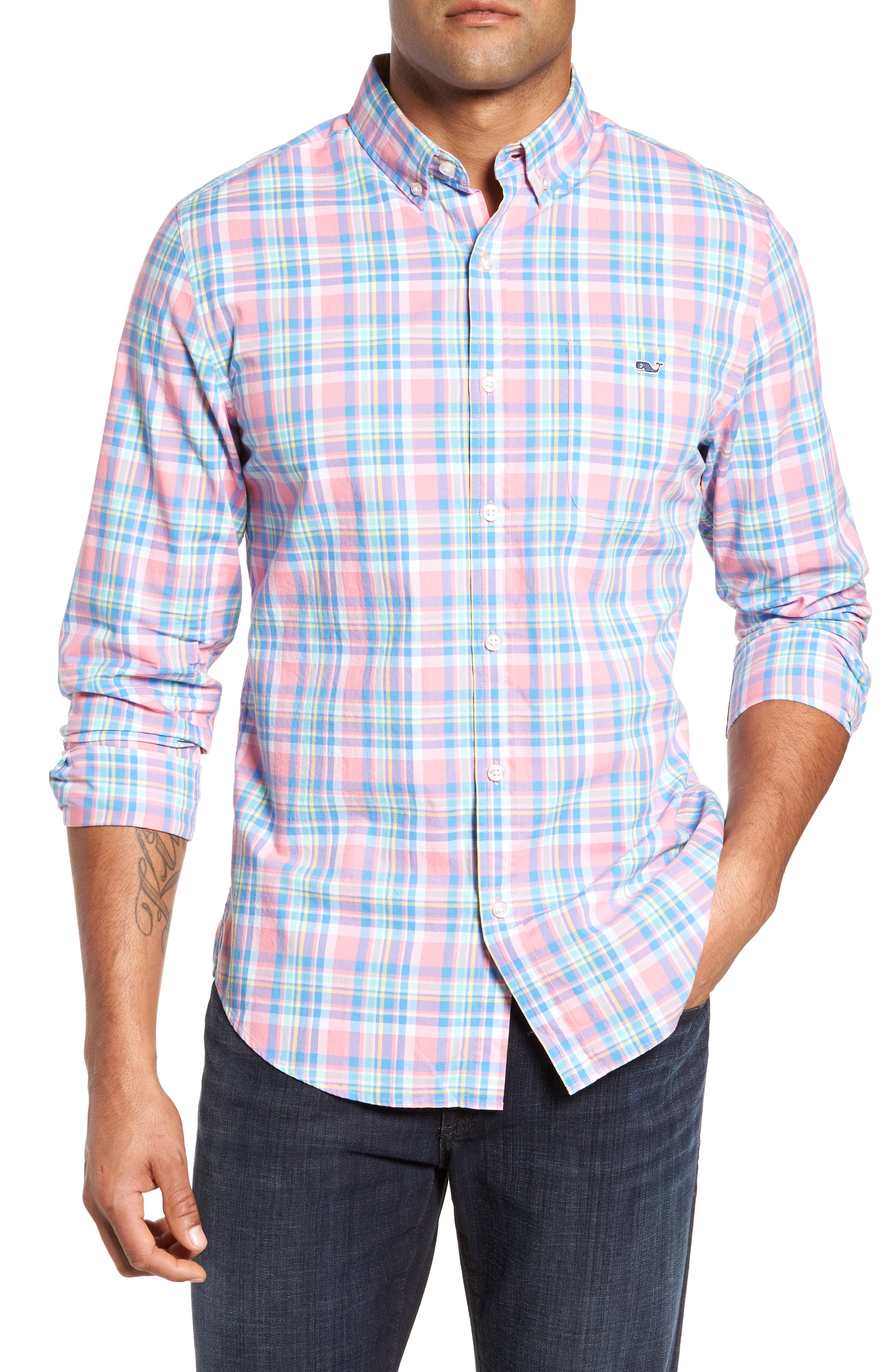 vineyard vines Cape Haze Tucker Slim Fit Plaid Sport Shirt